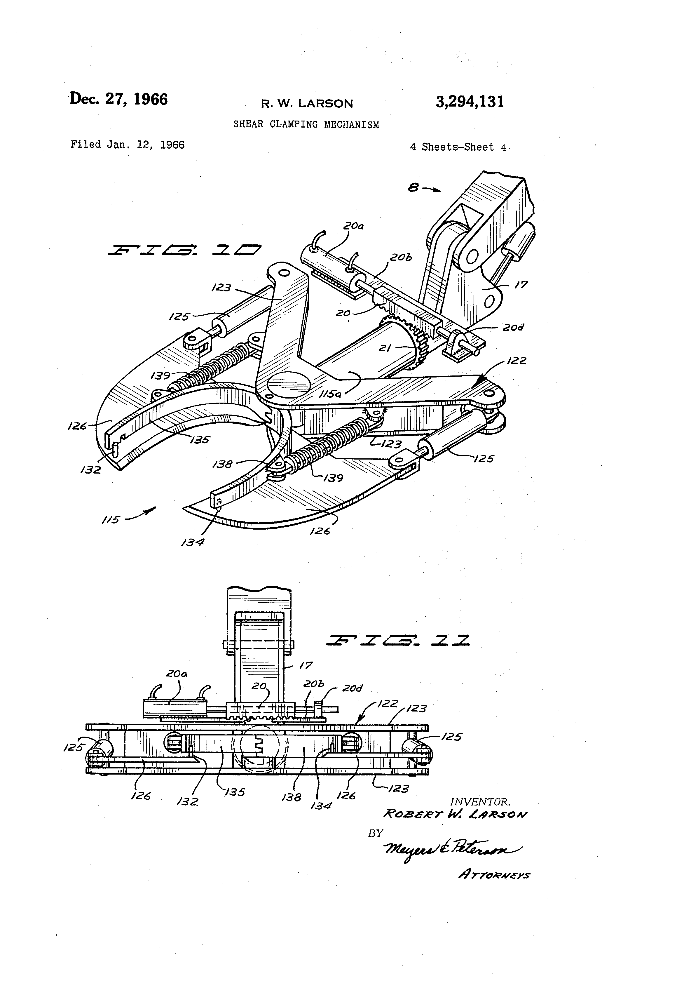 Patent Us3294131 Shear Clamping Mechanism Google Patents 134 F Head Engine Diagram Drawing