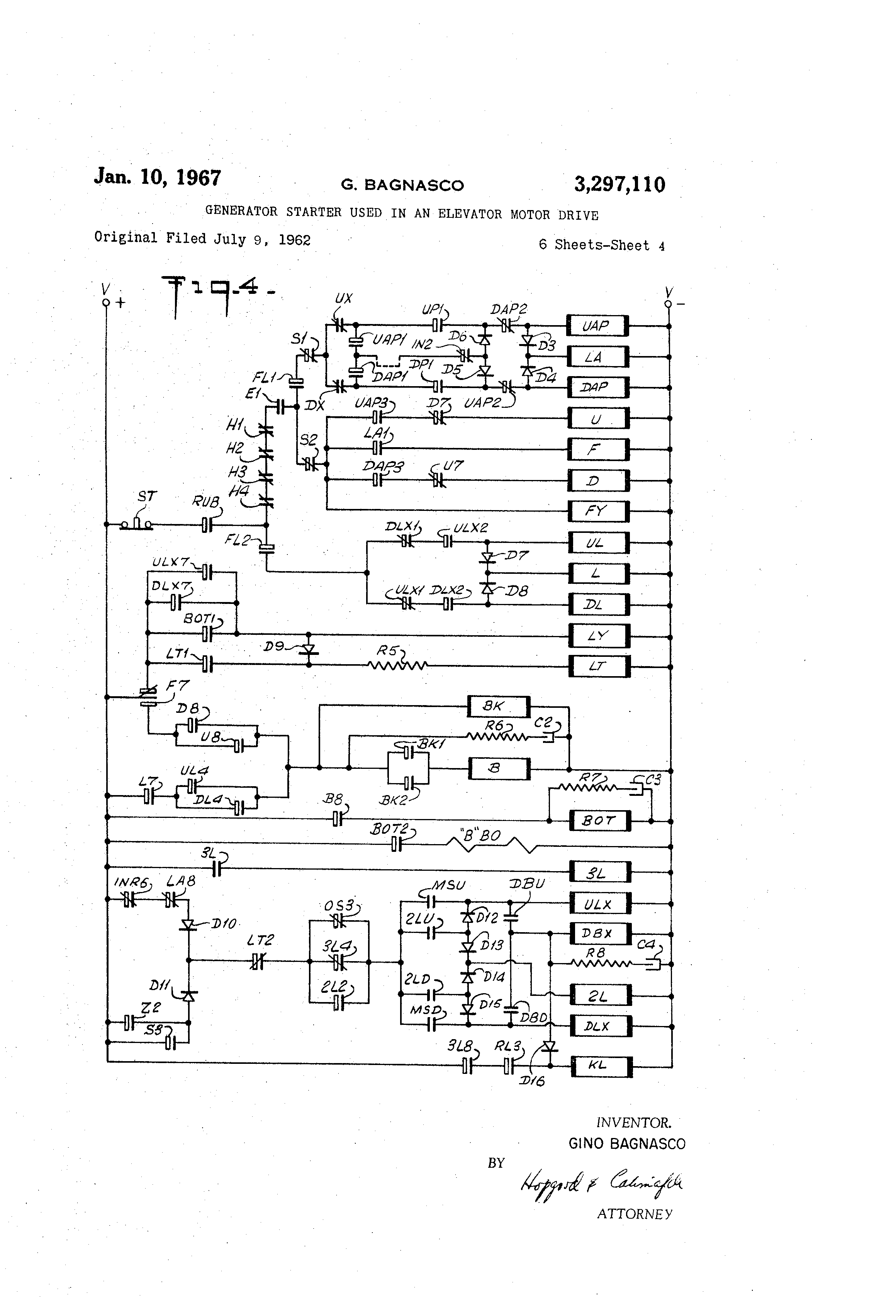 patent us3297110 - generator starter used in an elevator ... us lighting circuit wiring diagrams on pinterest light us elevator company wiring schematic
