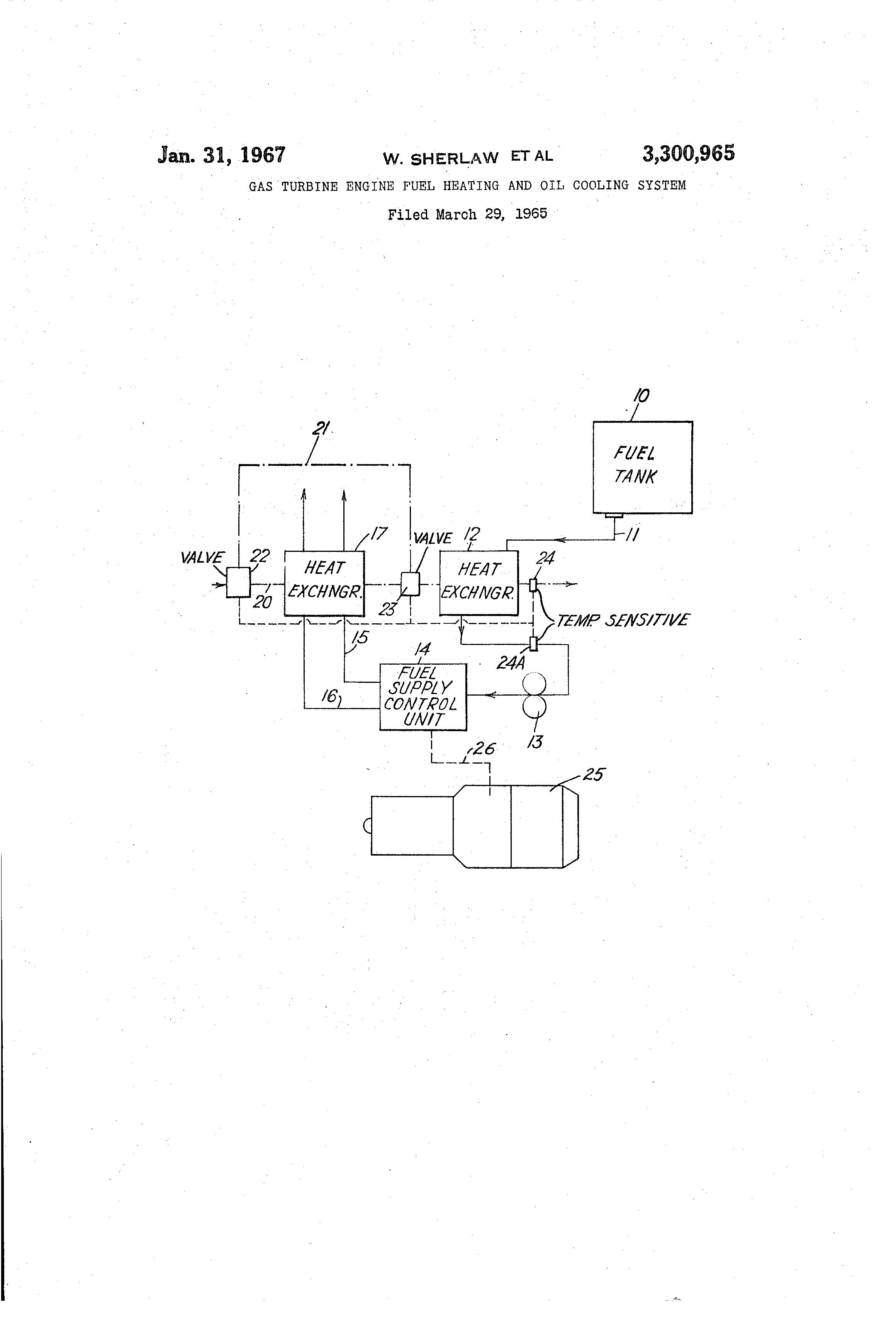 Patent US Gas turbine engine fuel heating and oil cooling