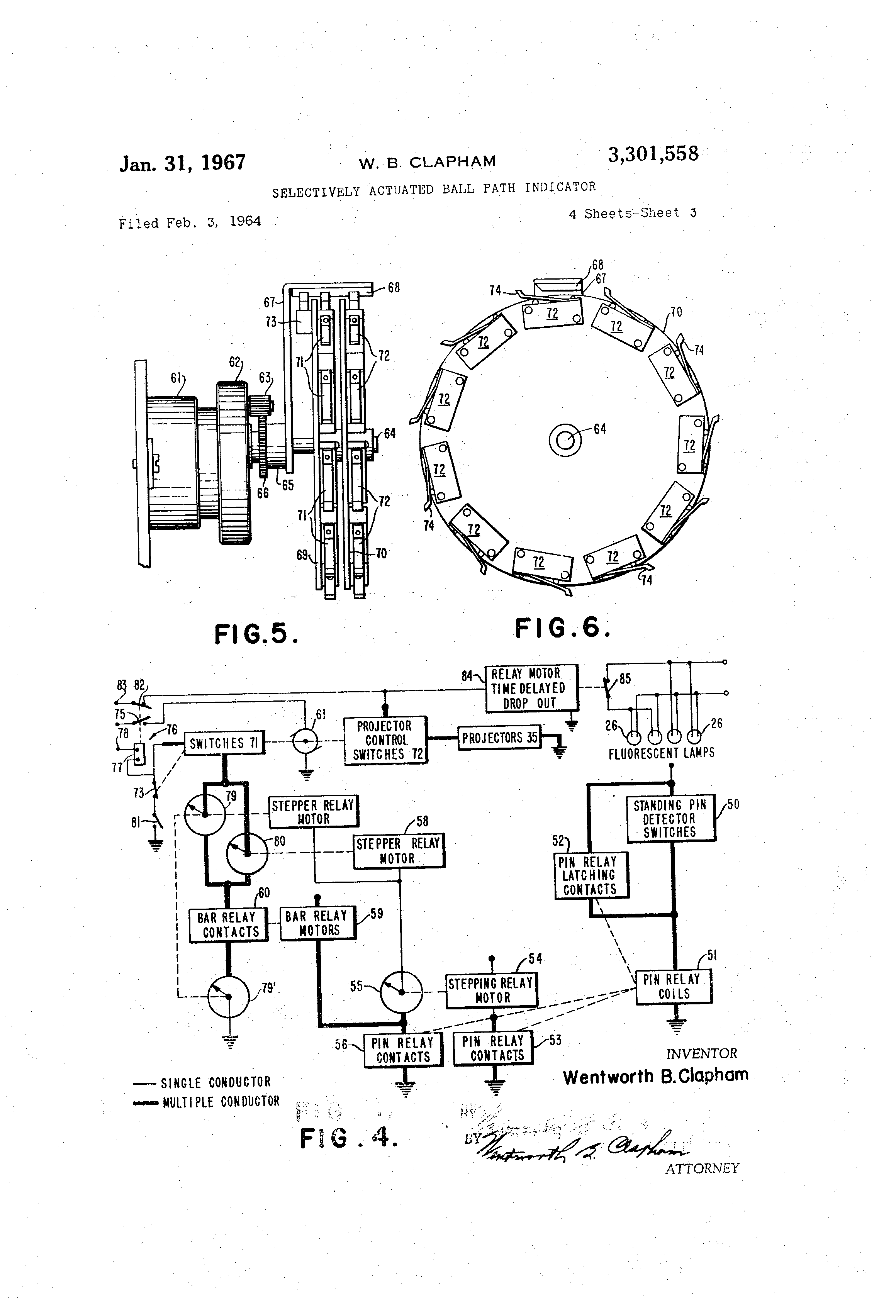 Patent Us3301558 Selectively Actuated Ball Path Indicator Google Control 2 Lamps By Switches One Way Parallel Circuit Drawing