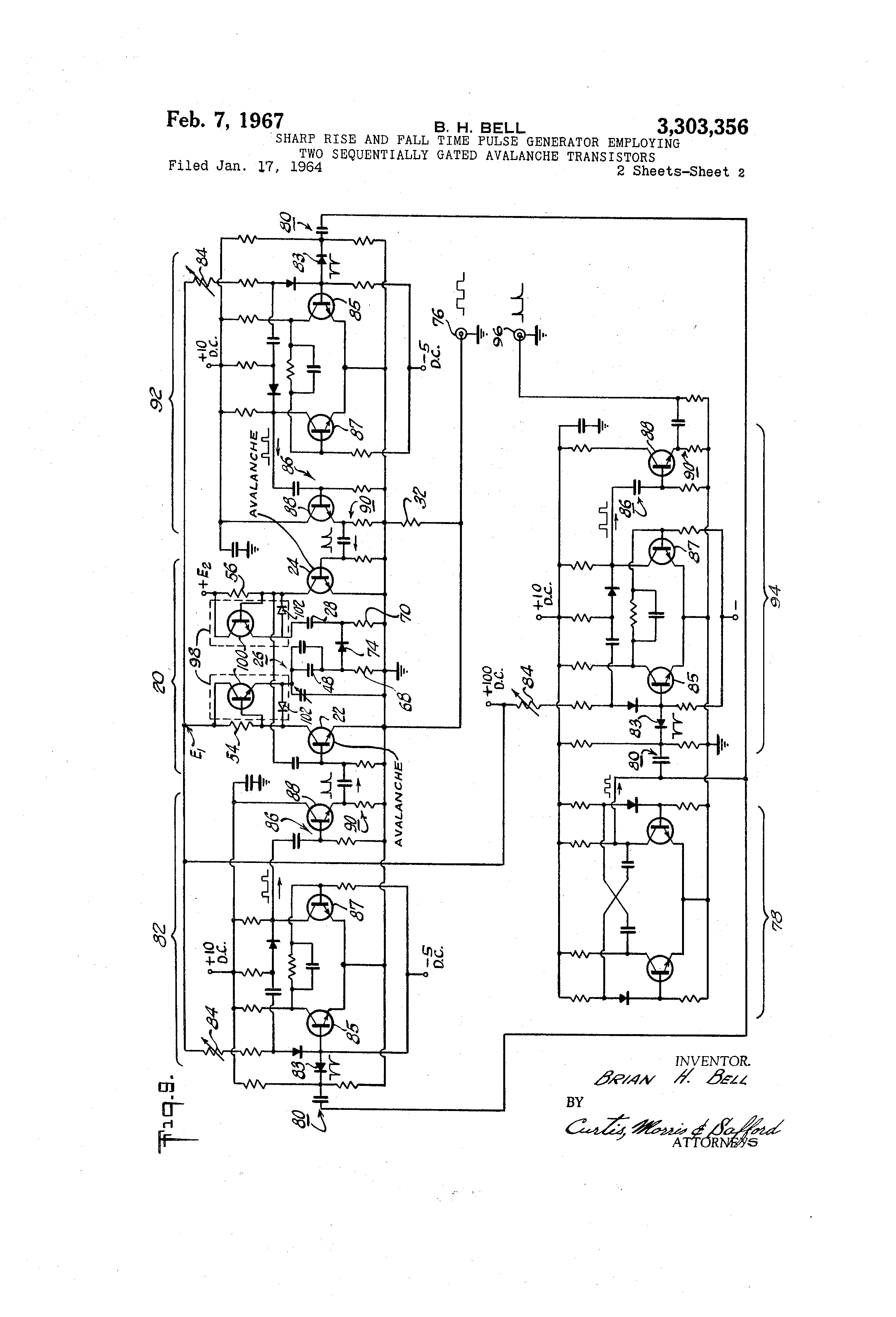 Patent Us3303356 Sharp Rise And Fall Time Pulse Generator Power Circuit Diagram Drawing