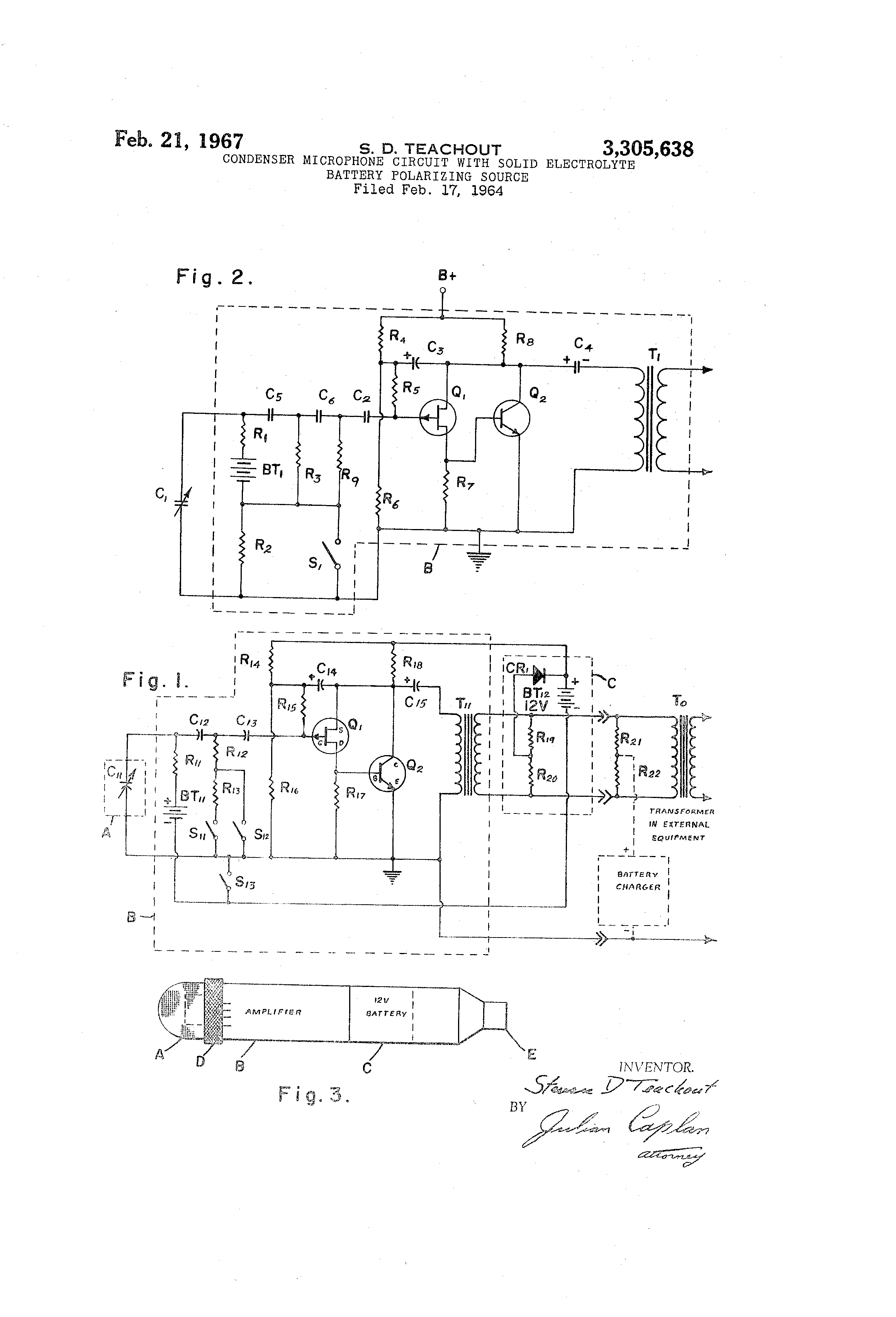 patent us3305638 condenser microphone circuit solid patent drawing
