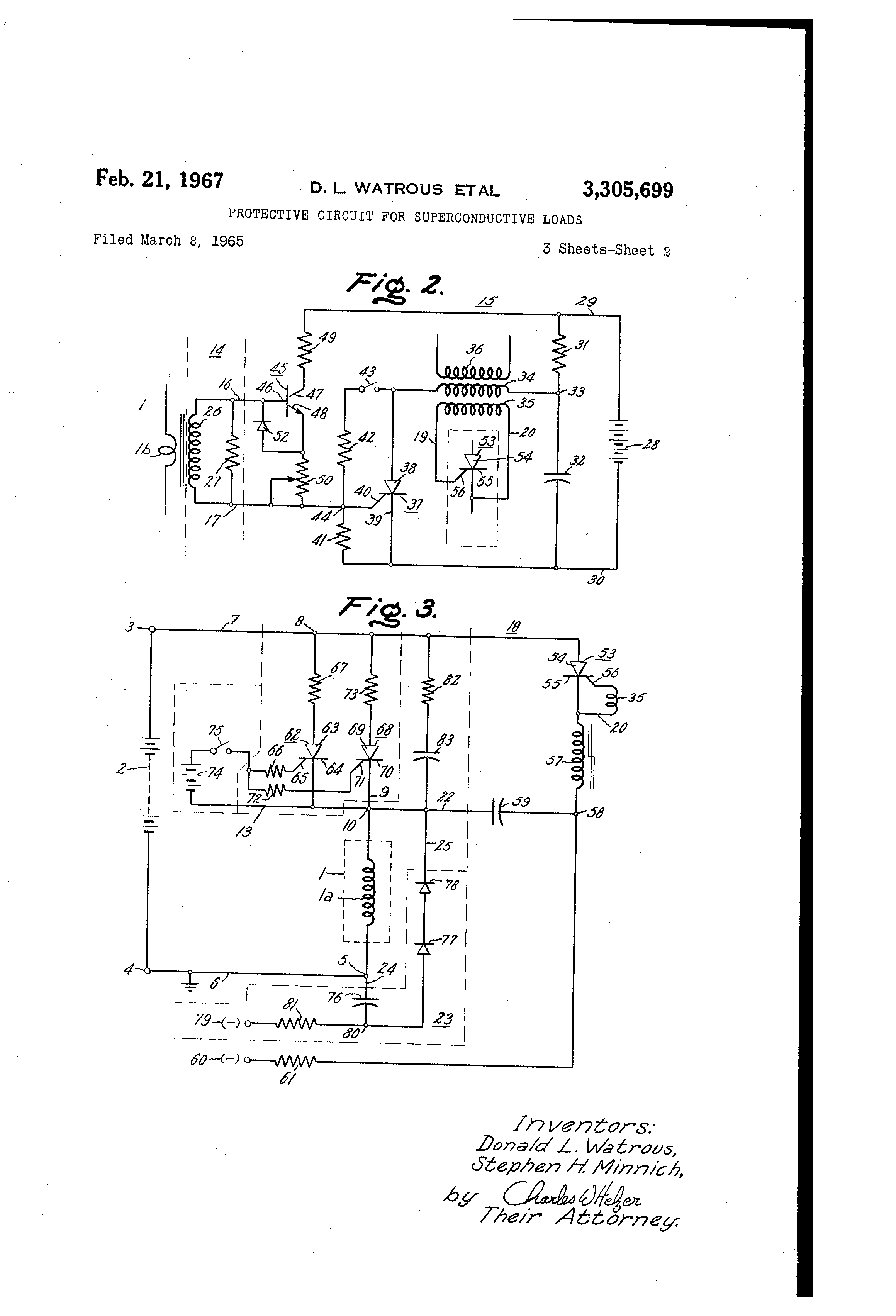 patent us3305699 protective circuit for superconductive loads Triac Heater Control patent drawing