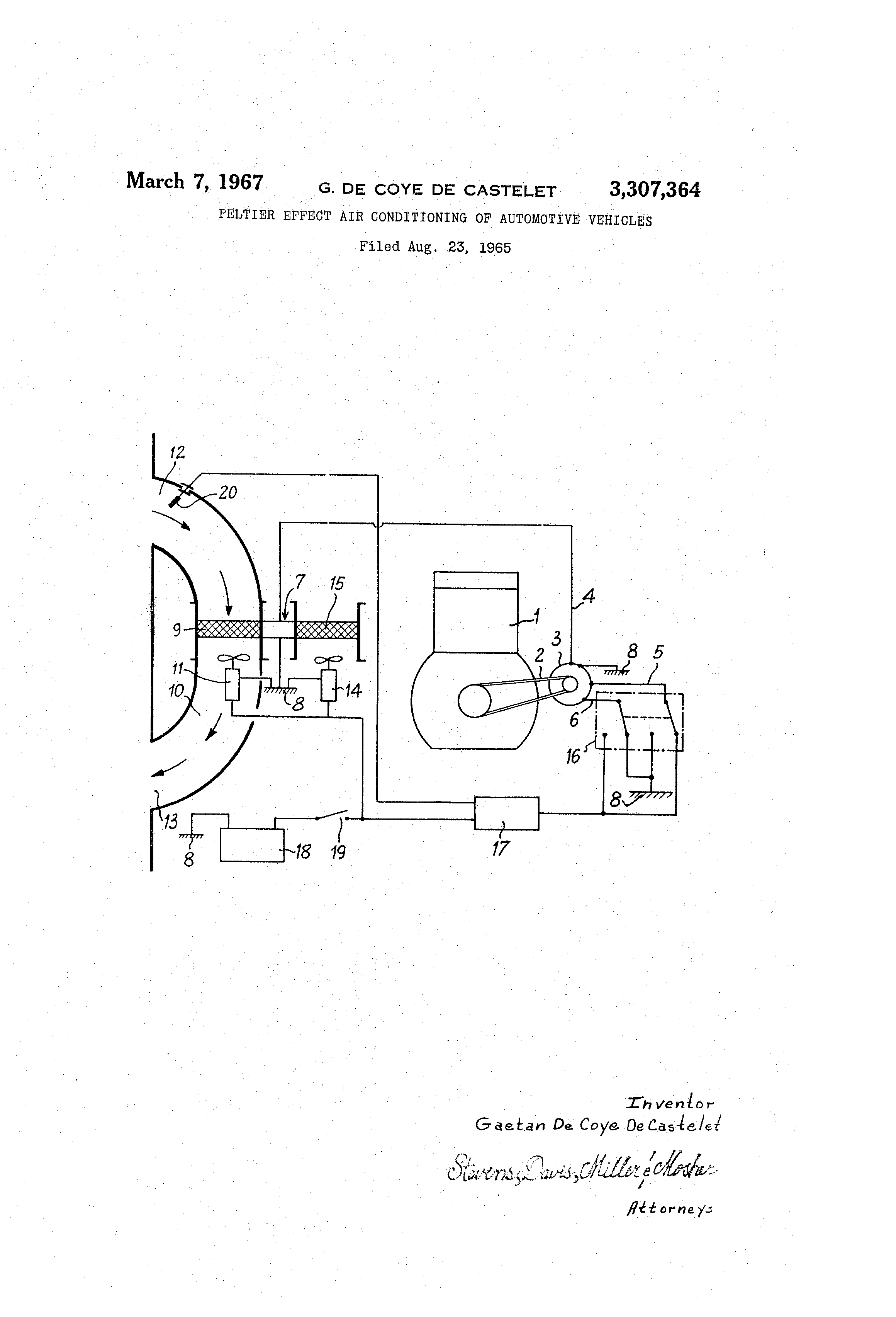Patent US3307364 - Peltier effect air conditioning of
