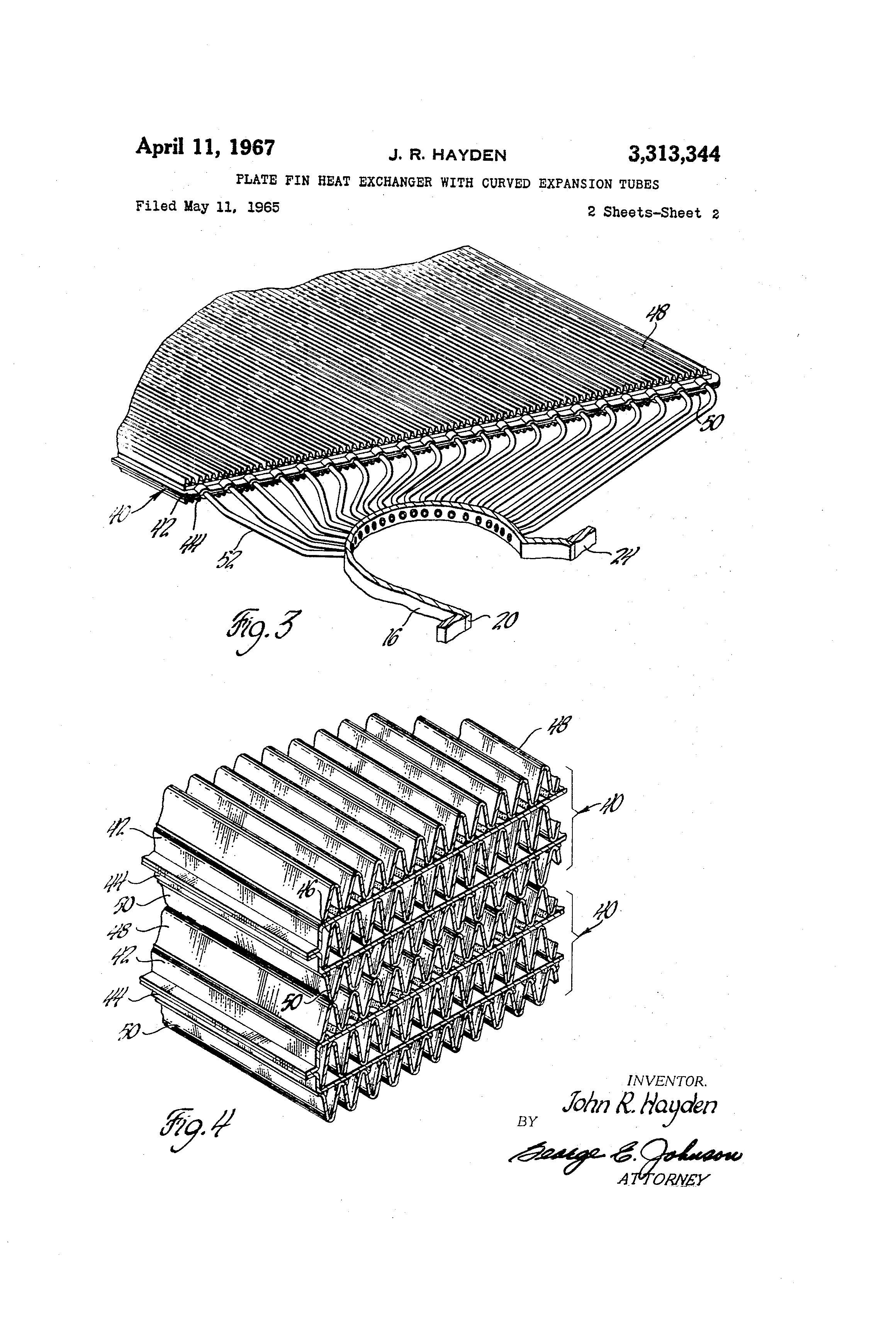 Patent Us3313344 Plate Fin Heat Exchanger With Curved