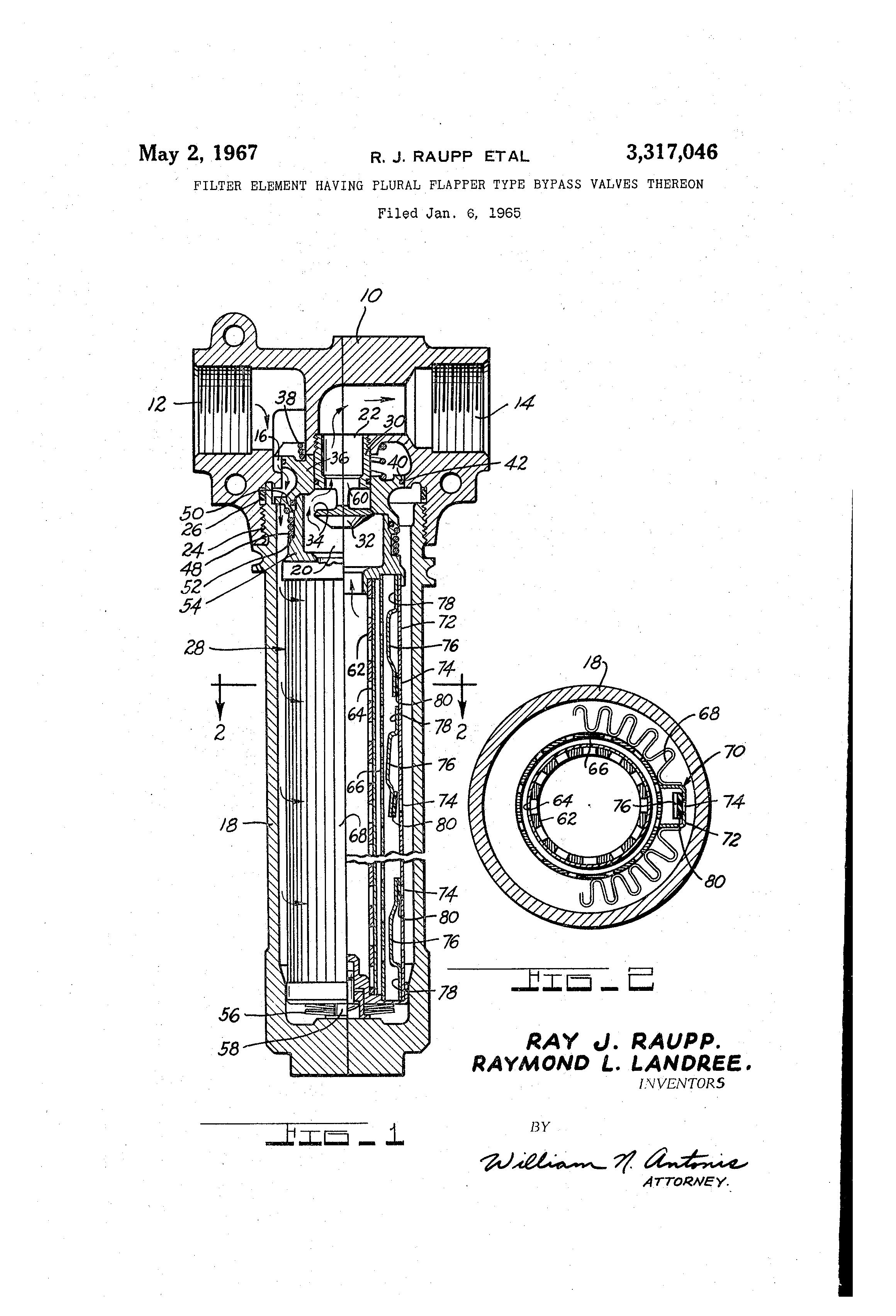 Patent US3317046 - Filter element having plural flapper type