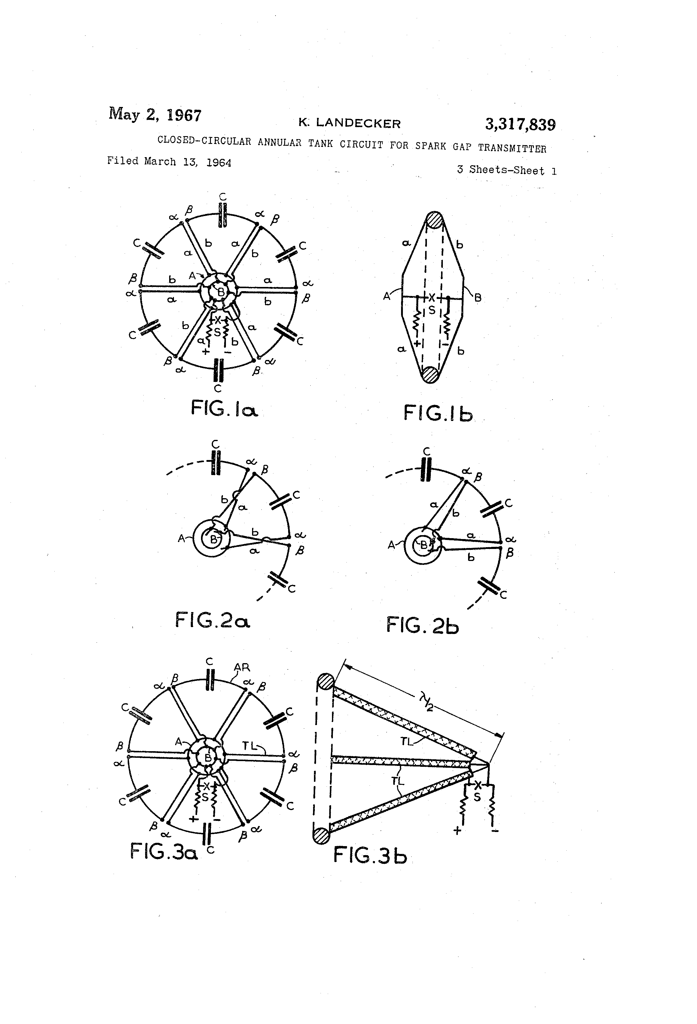 patent us3317839 - closed-circular annular tank circuit for spark gap transmitter