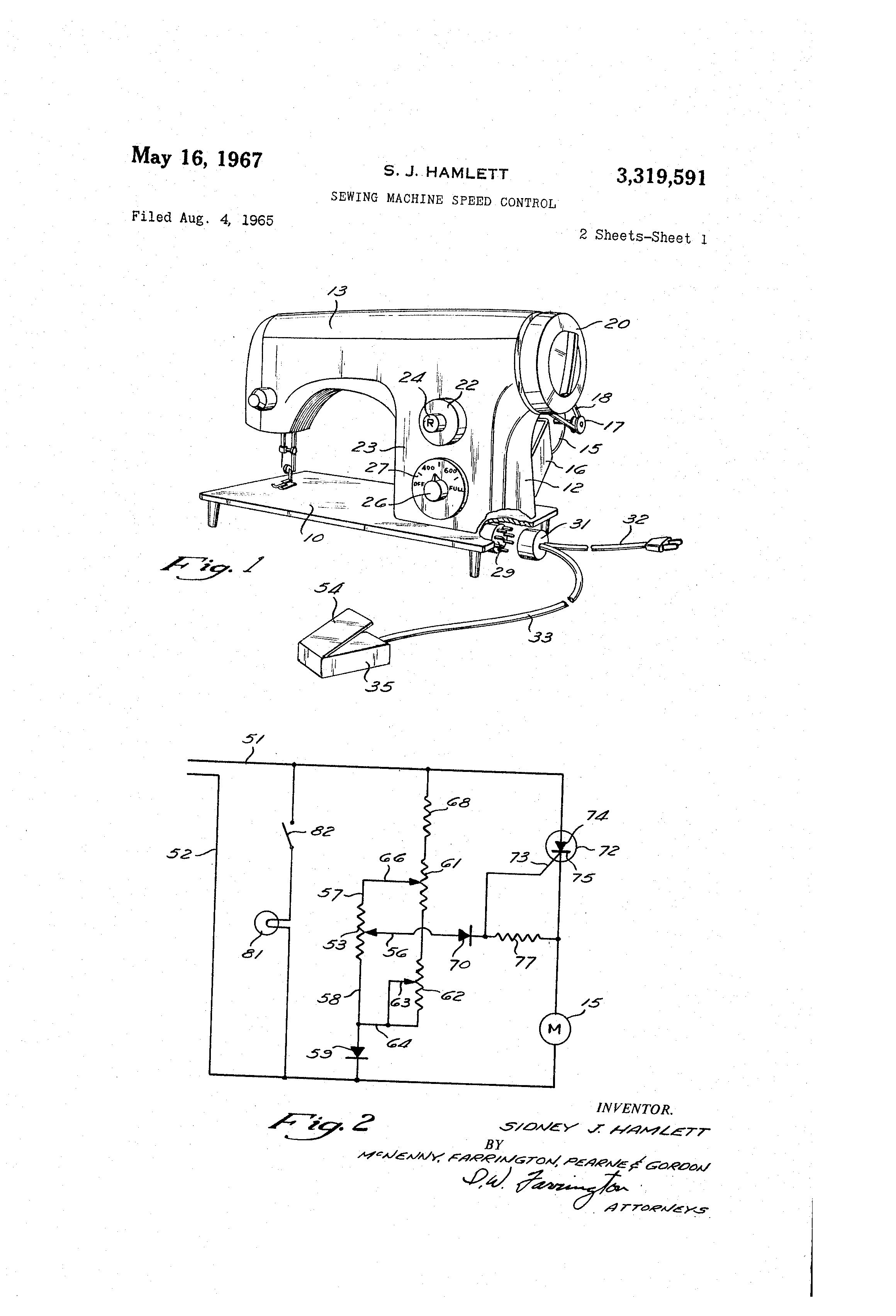 US3319591 0 patent us3319591 sewing machine speed control google patents singer sewing machine foot pedal wiring diagram at aneh.co