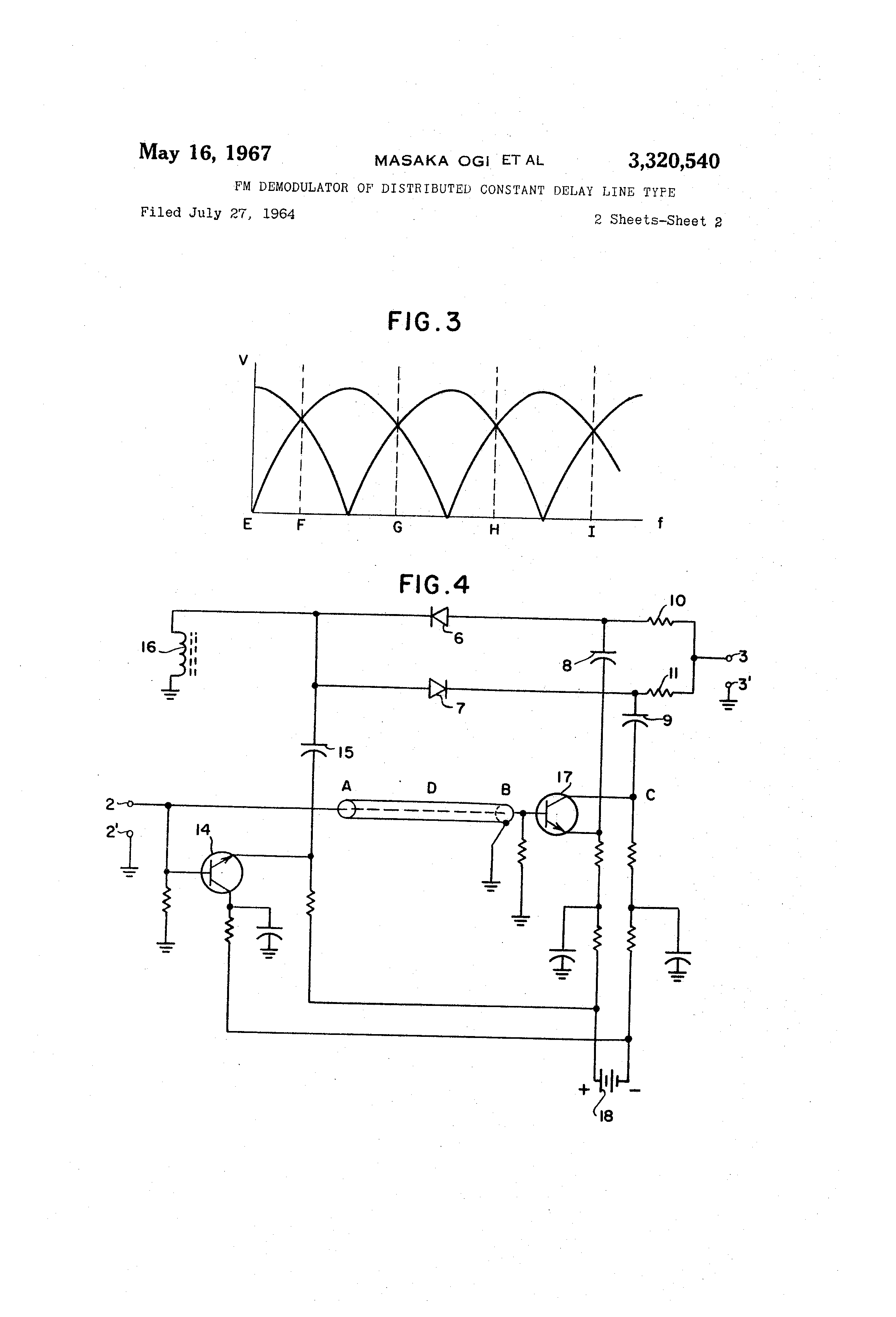 Patent Us3320540 Fm Demodulator Of Distributed Constant Delay Line Frequency Demodulation Drawing