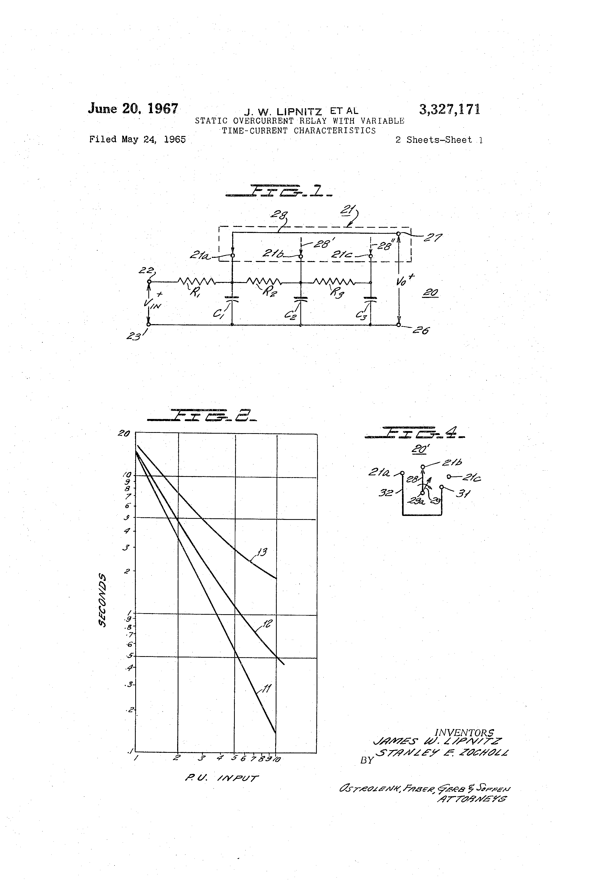 Patent US Static Overcurrent Relay With Variable Time - Current relay characteristics