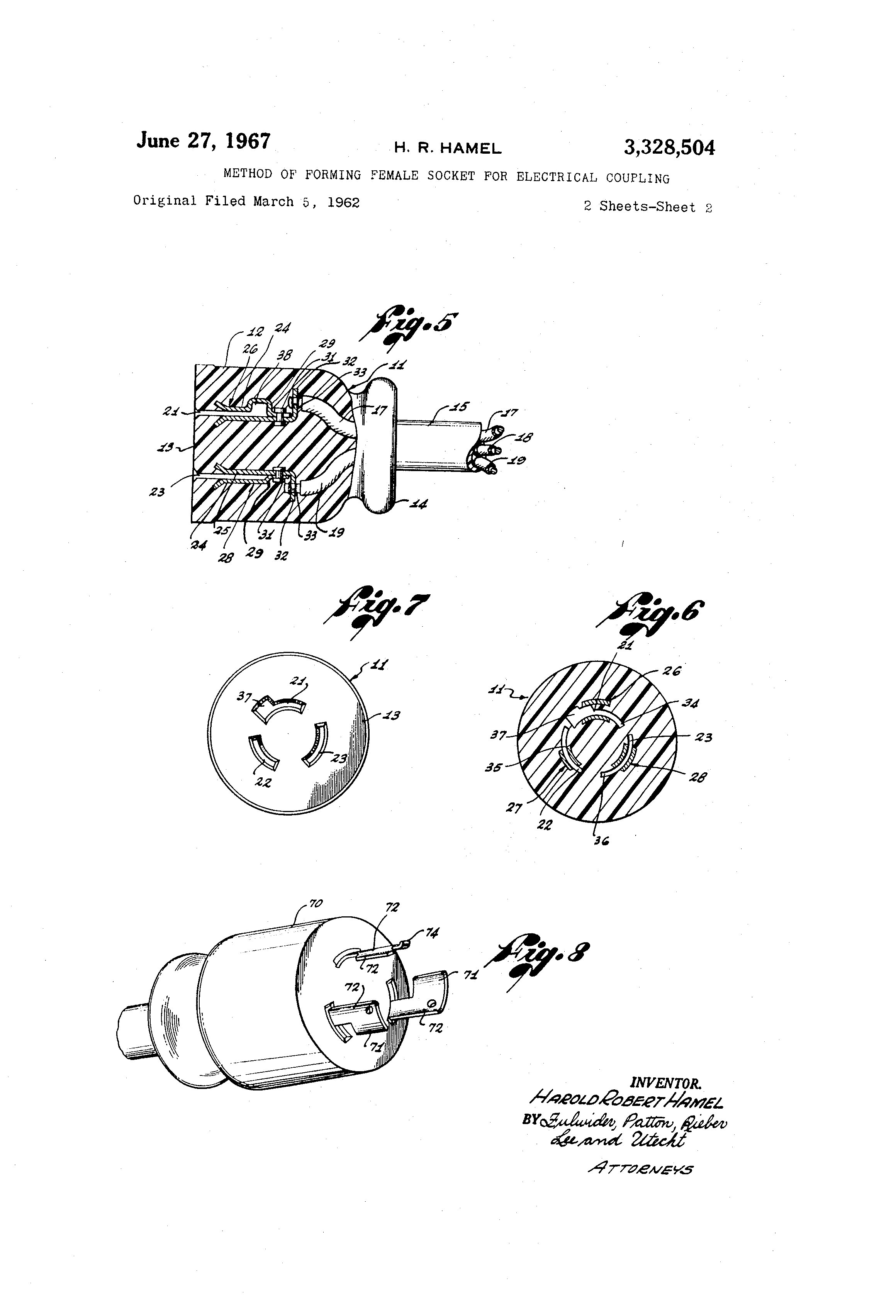 patente us3328504 method of forming female socket for electrical Conduit Coupling patent drawing