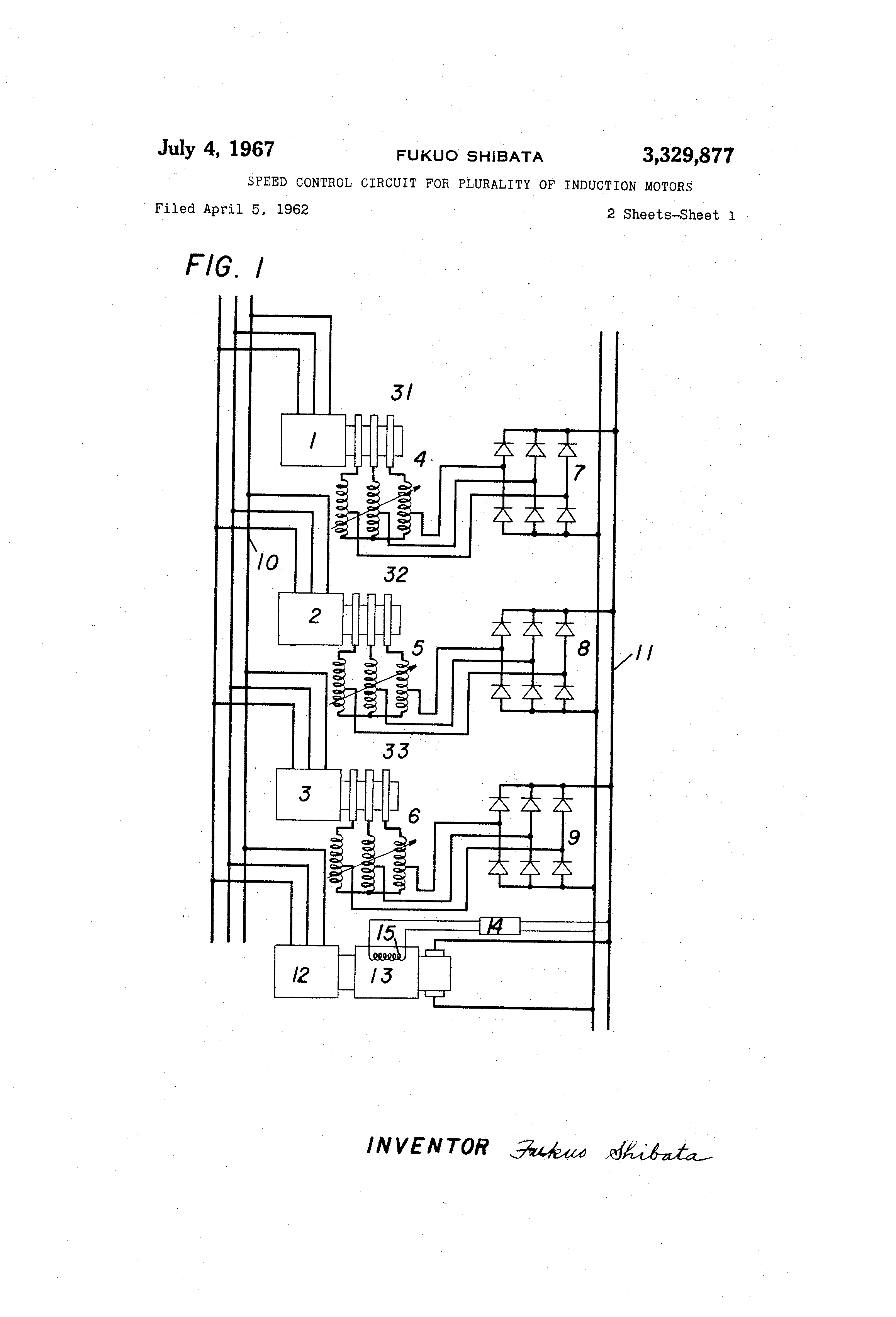 Patente Us3329877 Speed Control Circuit For Plurality Of Induction Startacmotorspeedcontrolcircuitpng Patent Drawing