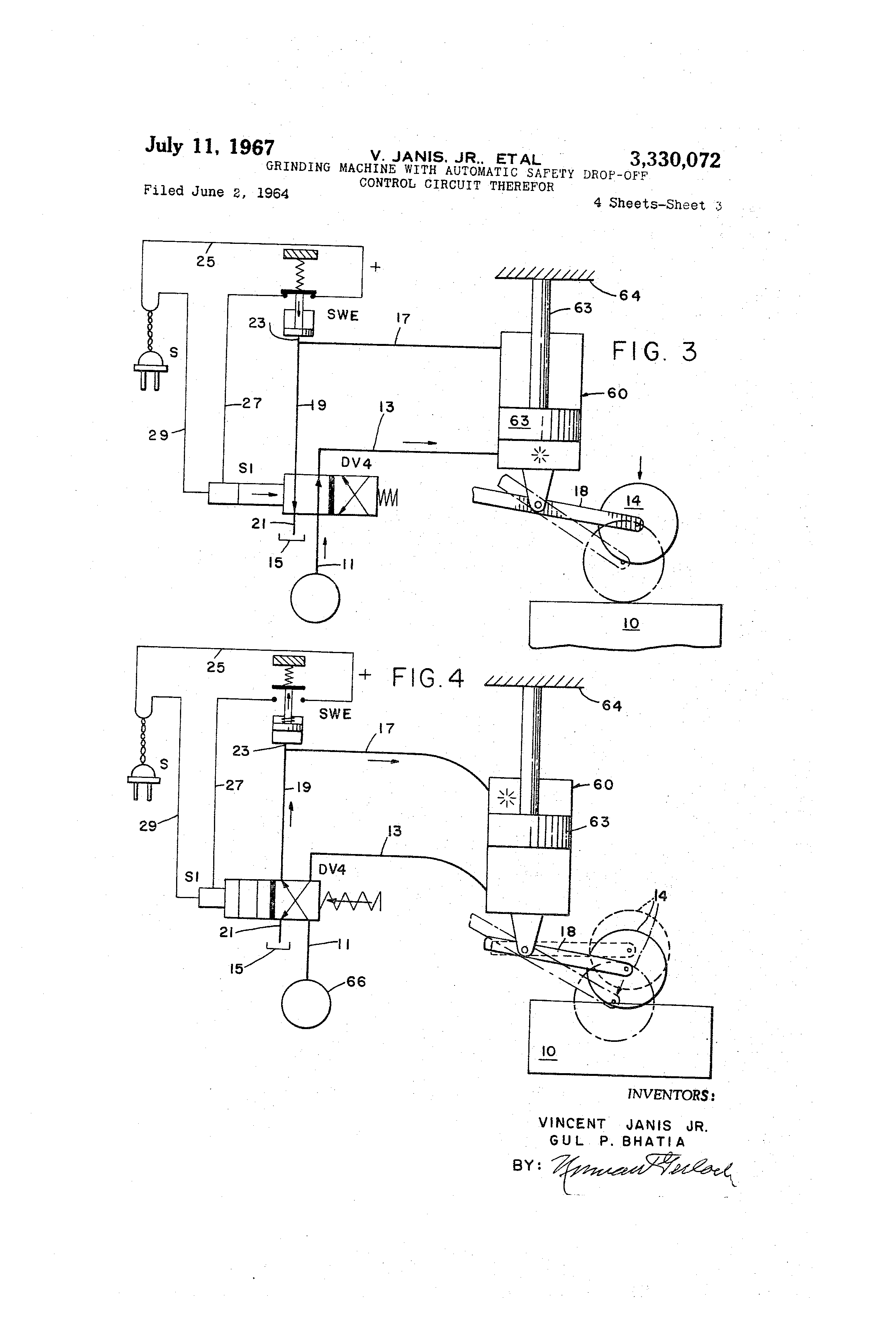 US3330072 2 patent us3330072 grinding machine with automatic safety drop off Brown and Sharpe Surface Grinder 510 at bakdesigns.co