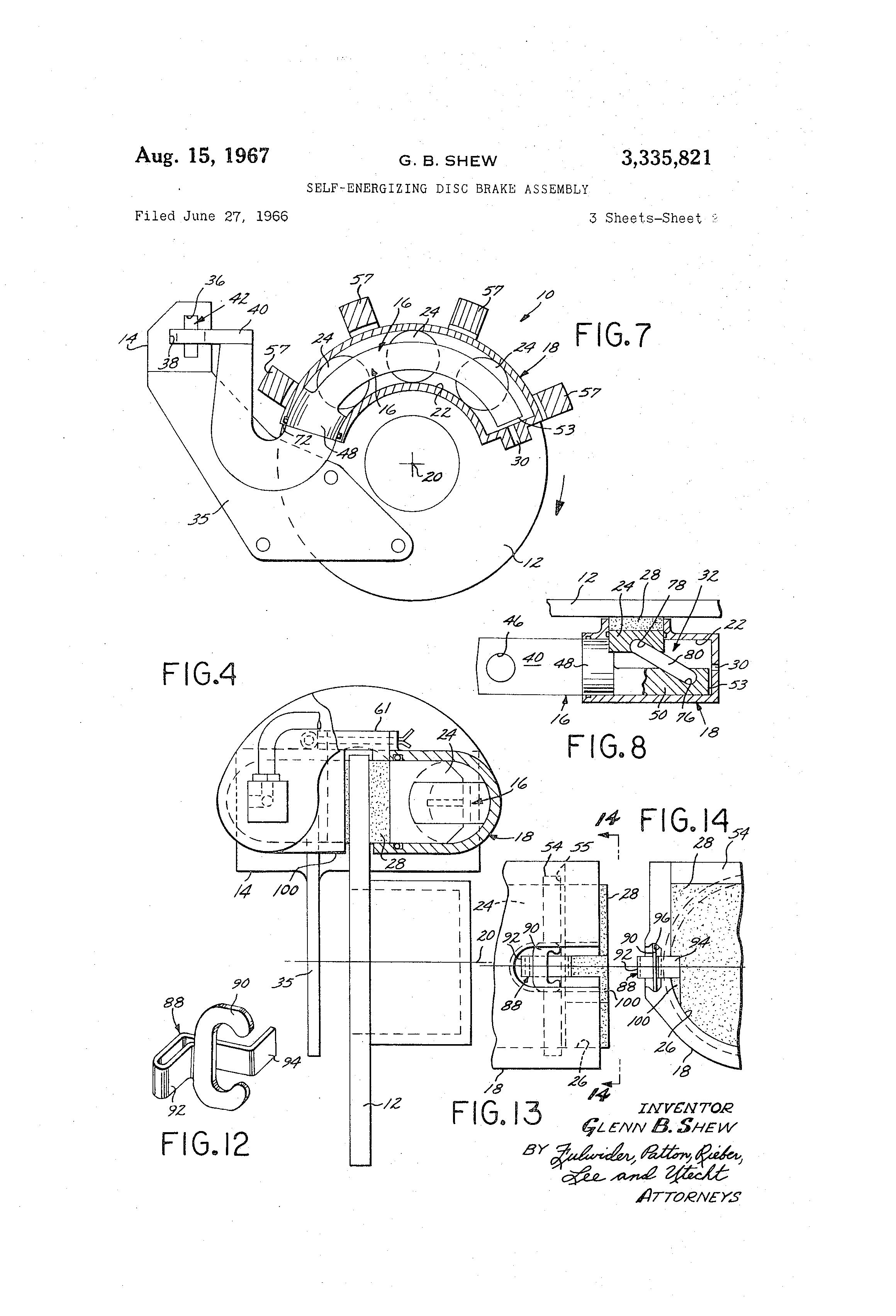 Us3335821 Self Energizing Disc Brake Assembly Diagram Patent Drawing