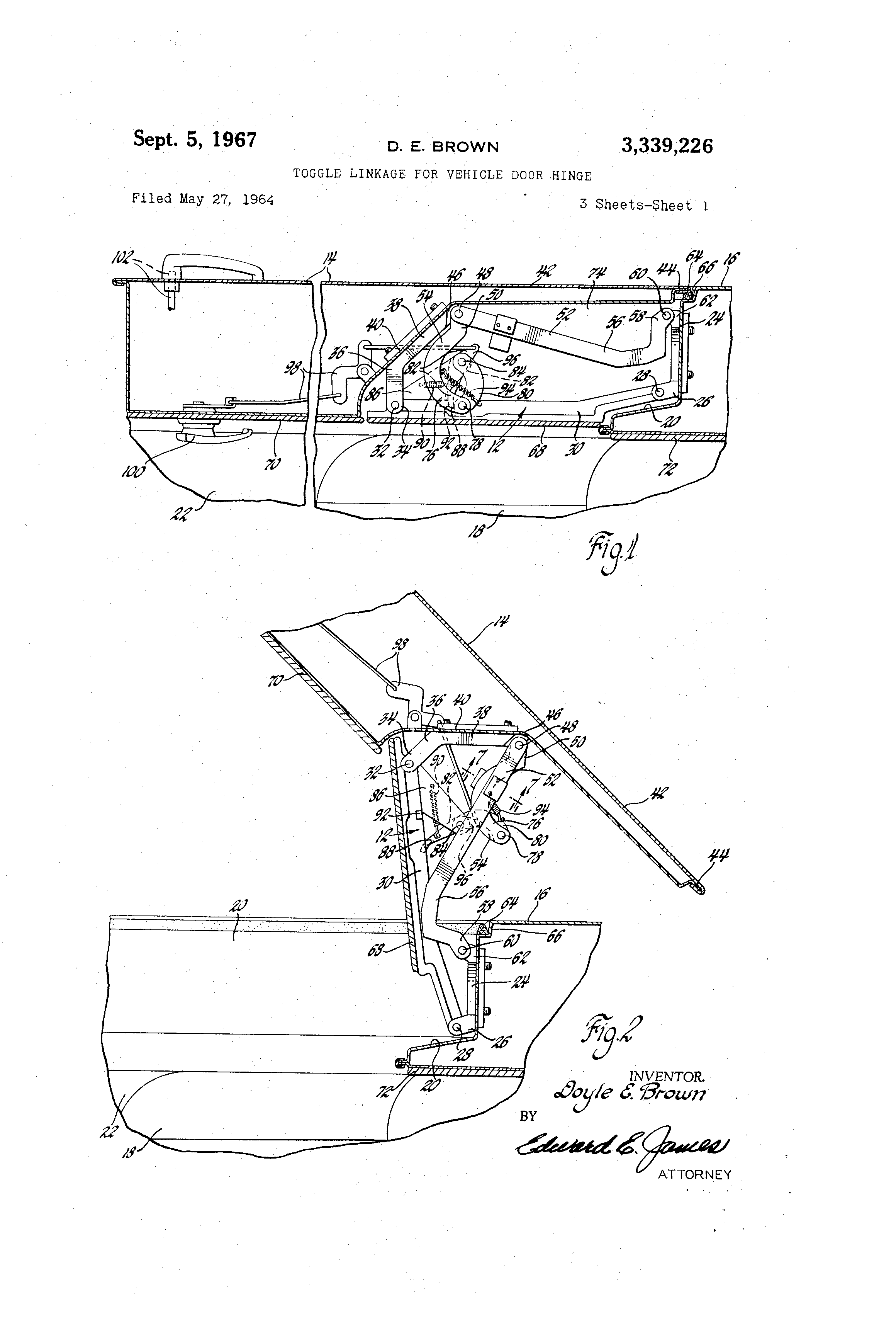 Brevet Us3339226 Toggle Linkage For Vehicle Door Hinge Google Camera Wiring Additionally Rear View Diagram Likewise Patent Drawing