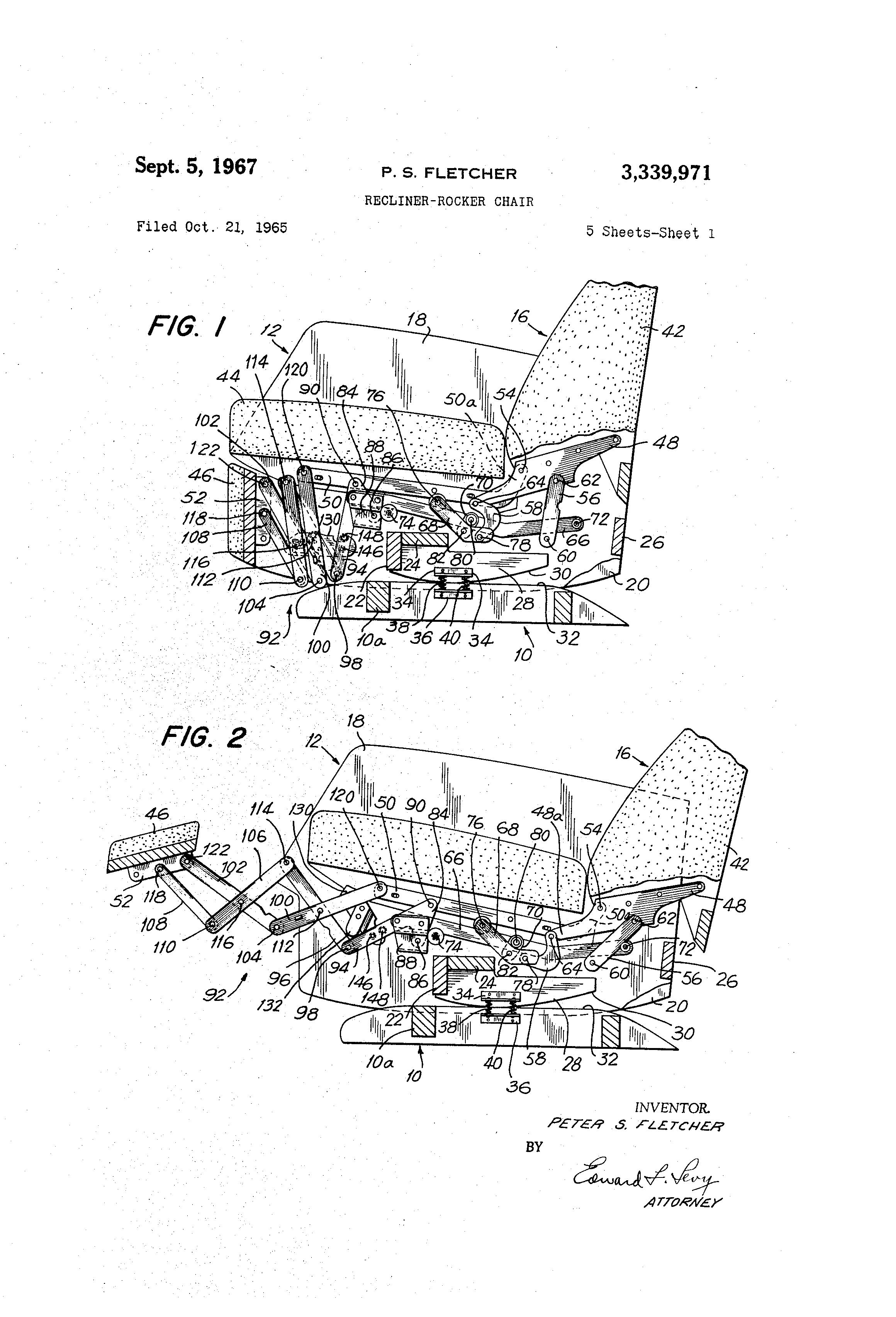 Patent US3339971 - Recliner-rocker chair - Google Patents