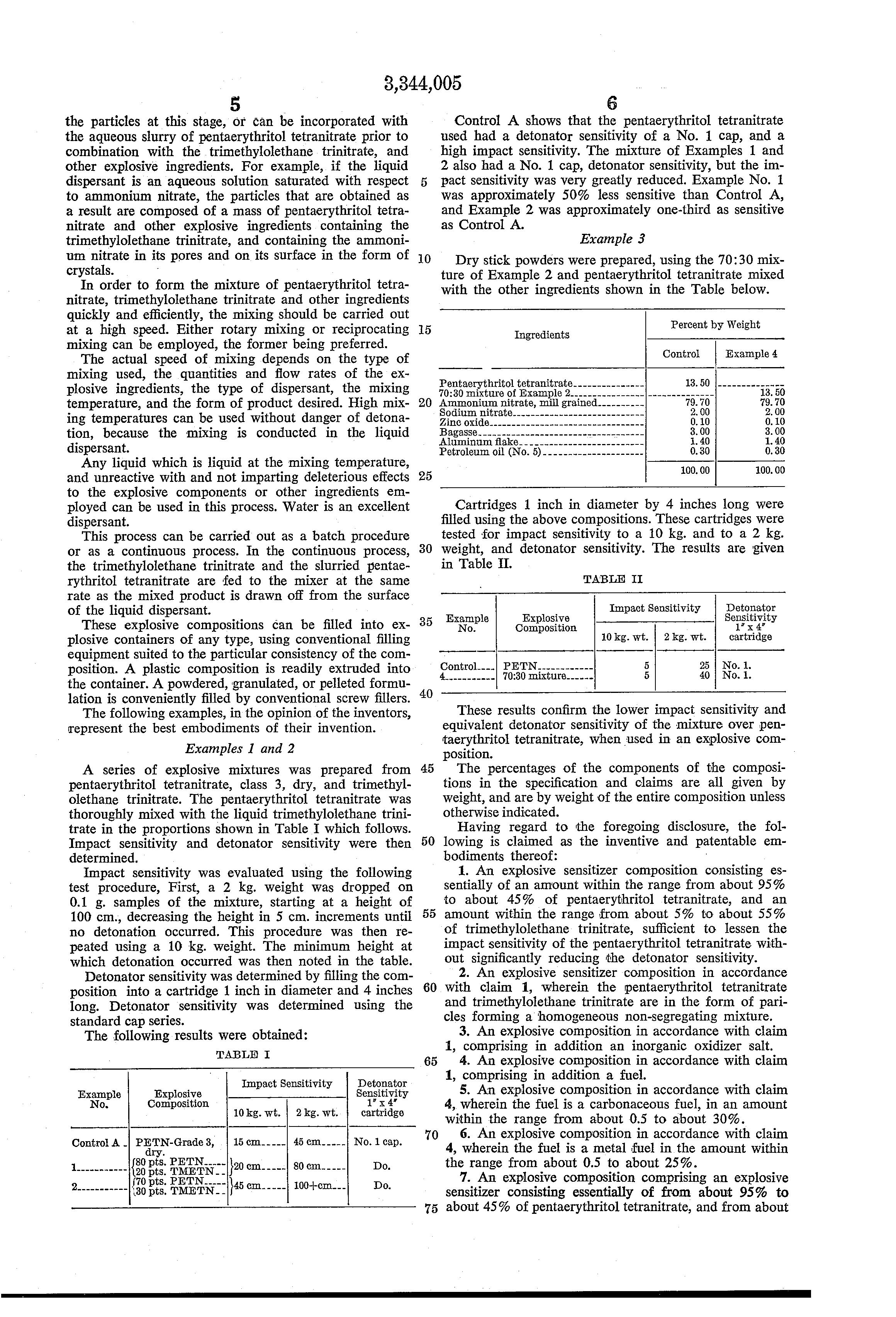 Patent US3344005 - Pentaerythritol tetranitrate