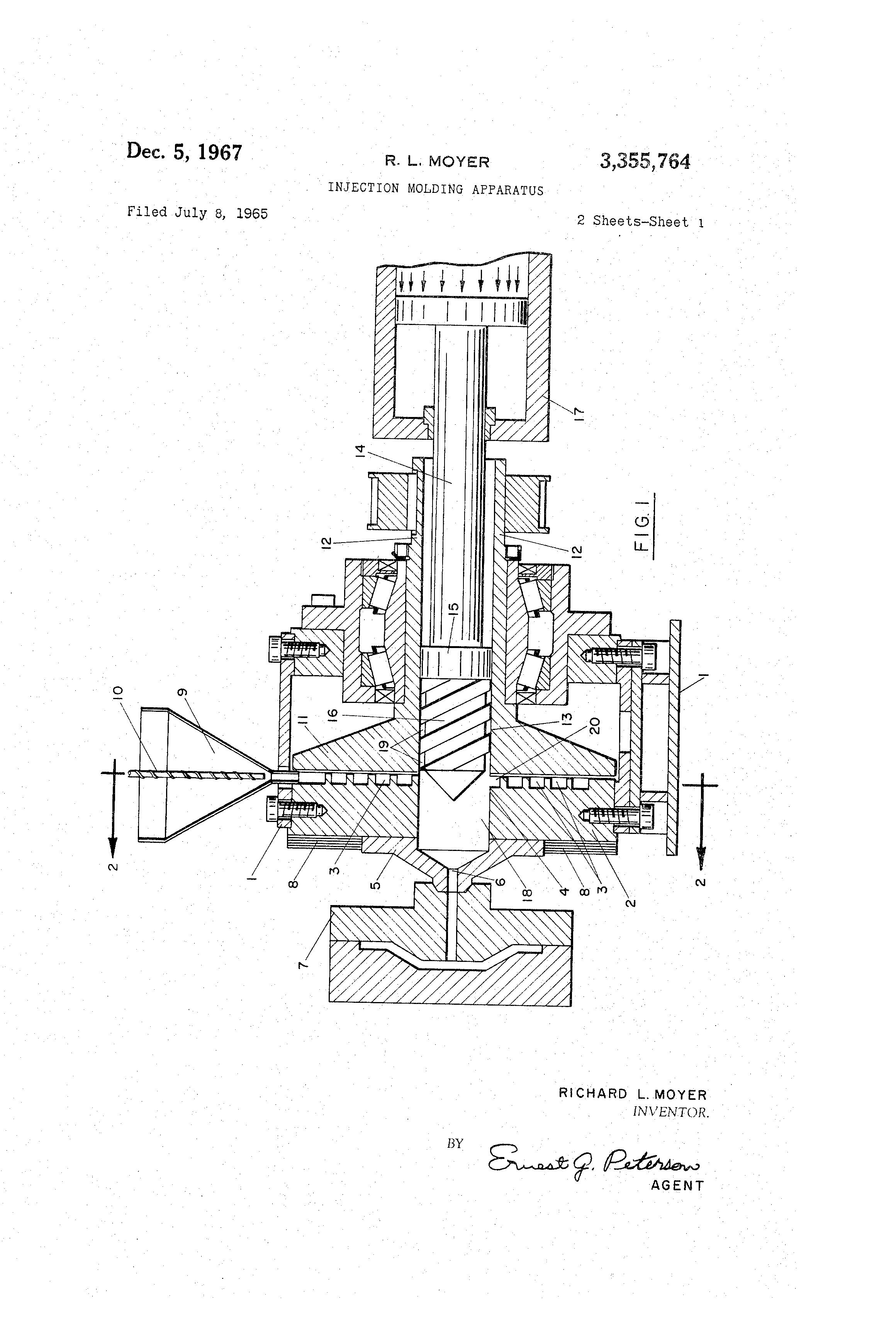 patent us3355764 - injection molding apparatus