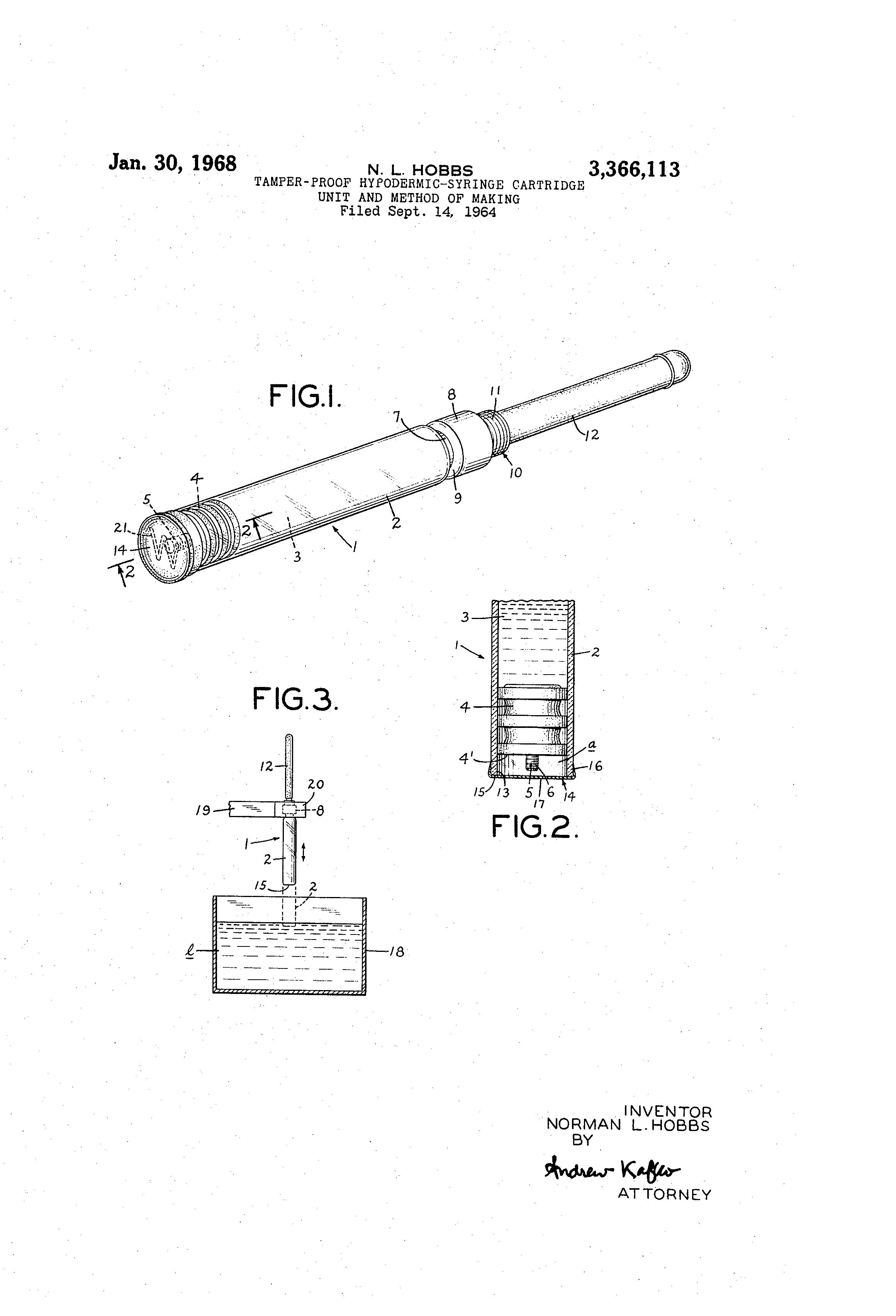 Brevet US3366113 - Tamper-proof hypodermic-syringe cartridge unit
