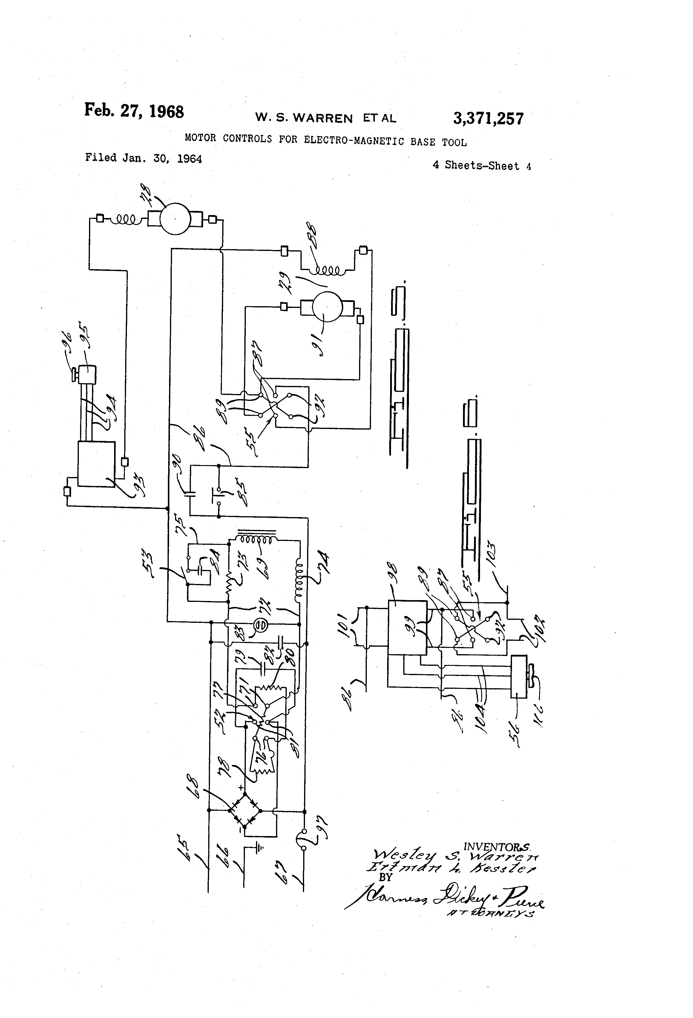 patent us3371257 - motor controls for electro-magnetic base tool