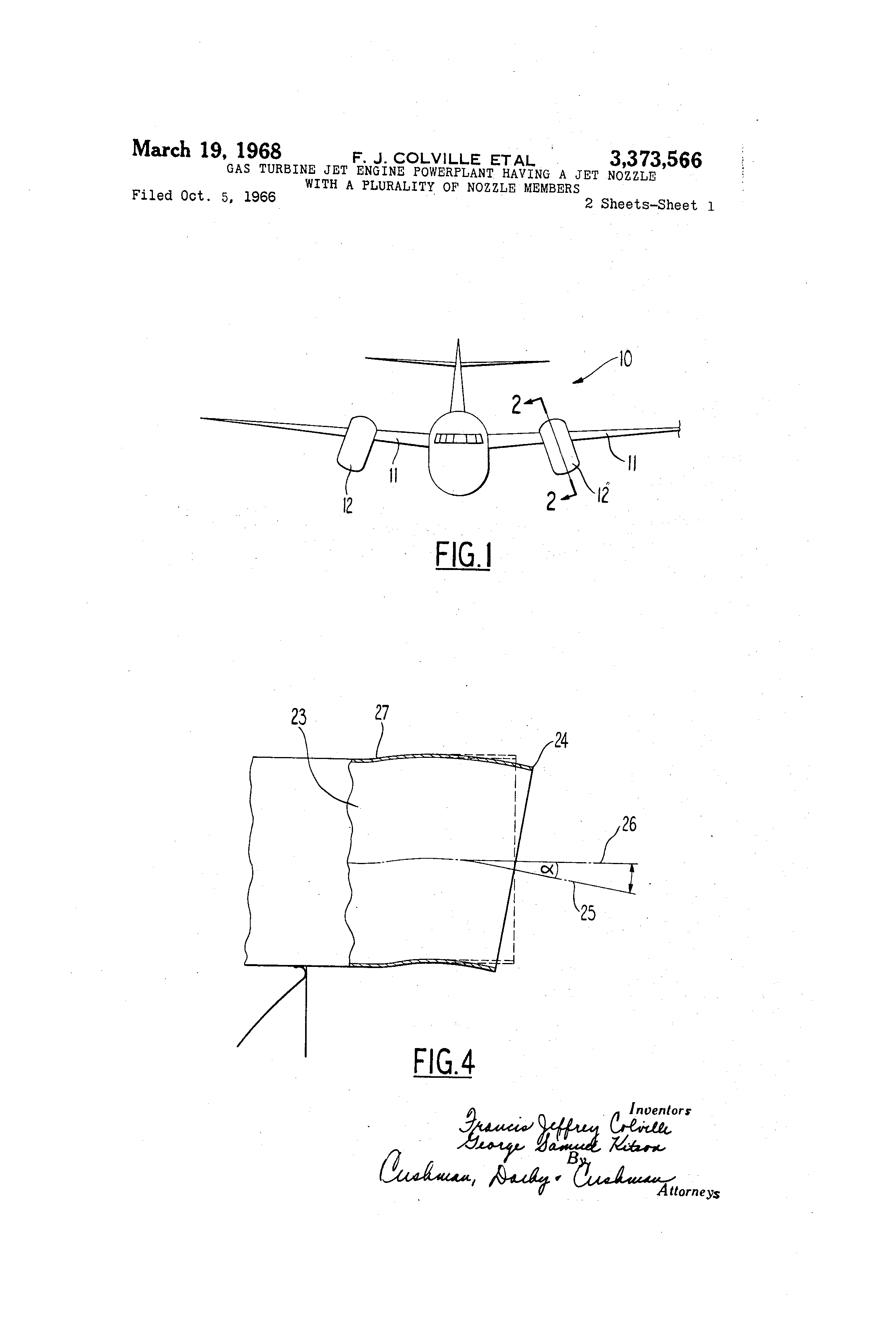 Patent US Gas turbine jet engine powerplant having a jet