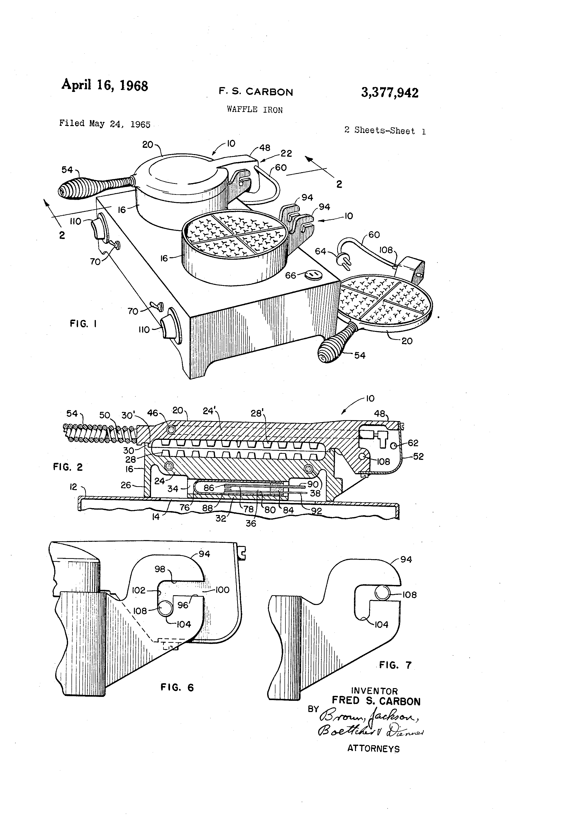 US3377942 0 patent us3377942 waffle iron google patents wells waffle maker commercial wiring diagrams at mifinder.co