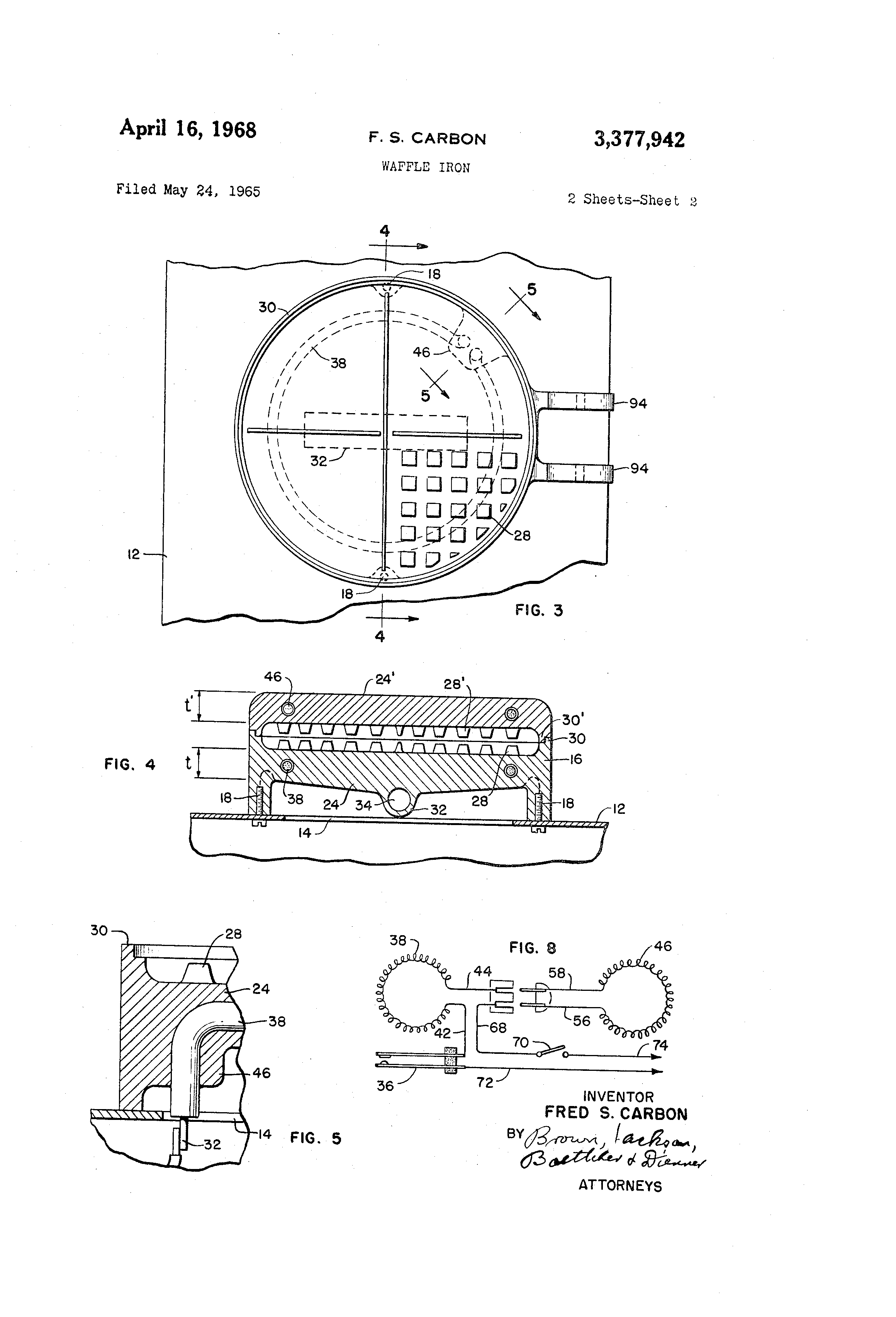 US3377942 1 patent us3377942 waffle iron google patents wells waffle maker commercial wiring diagrams at mifinder.co