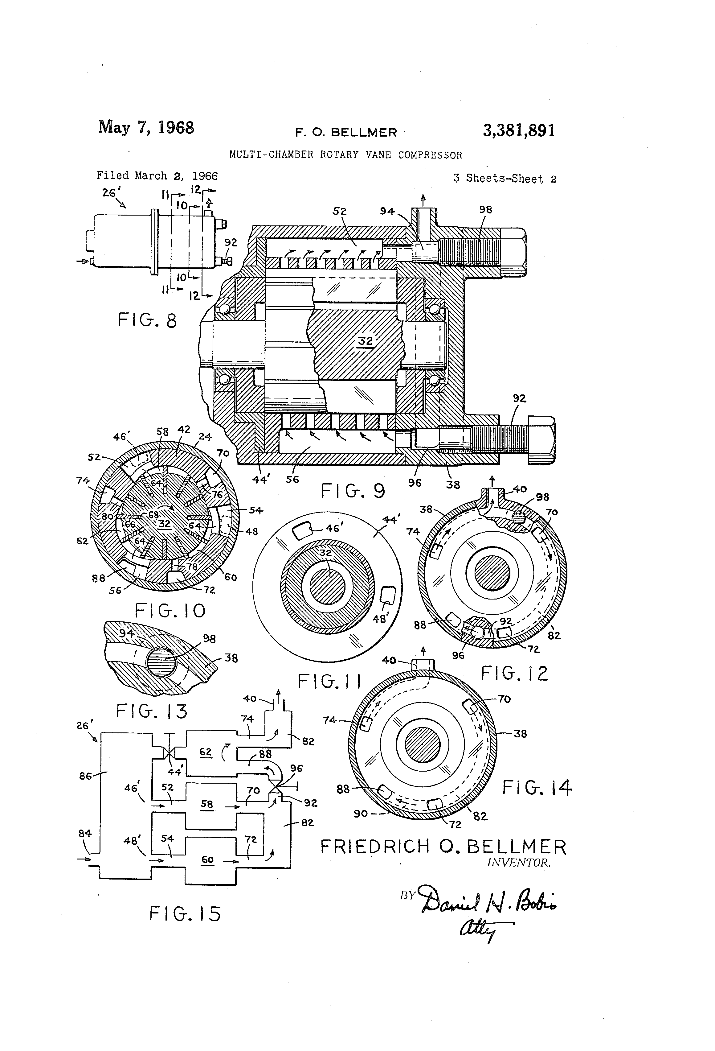 patent us3381891 - multi-chamber rotary vane compressor