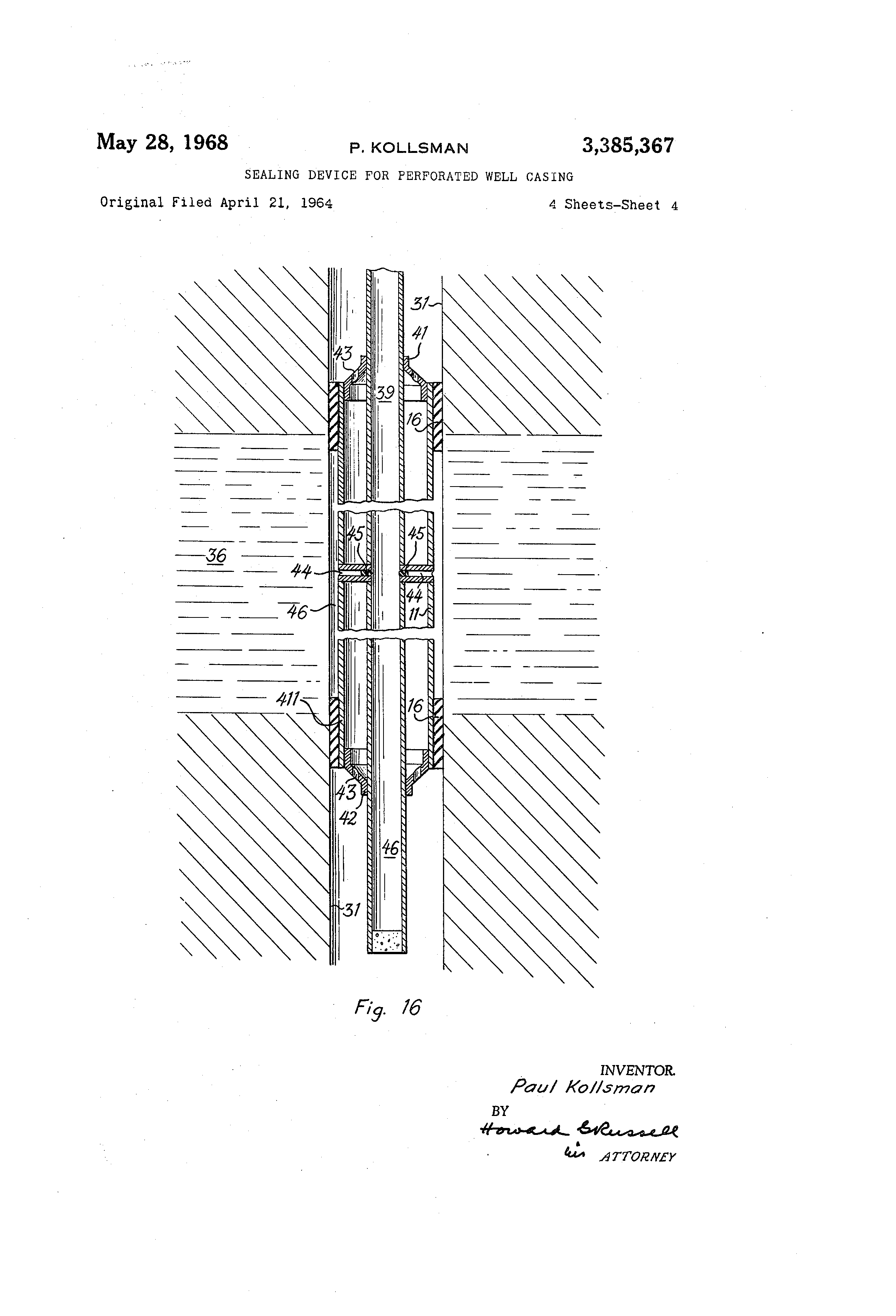 Patent us sealing device for perforated well