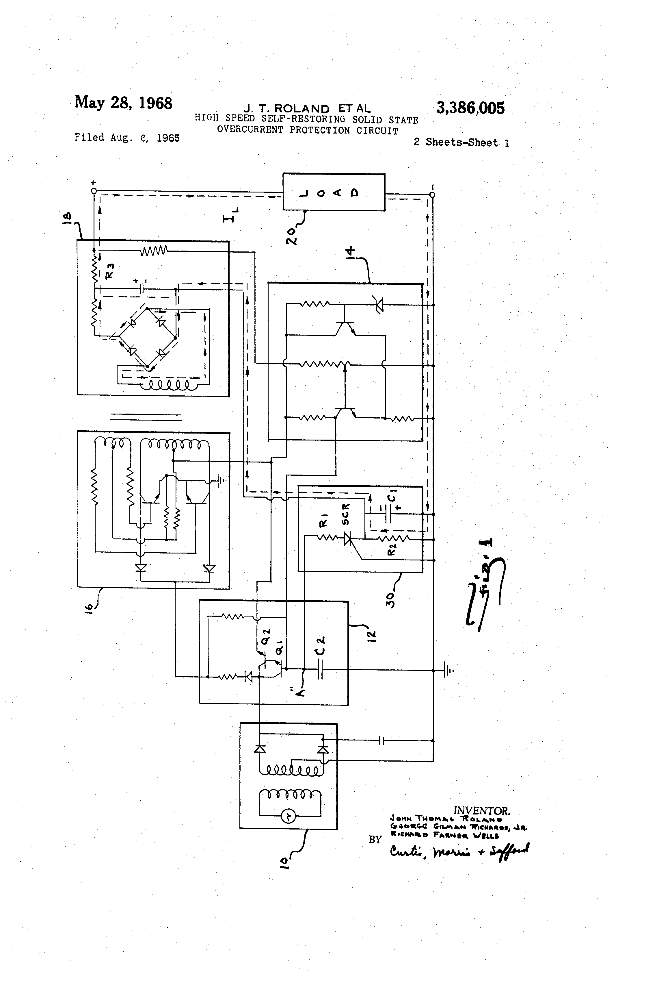 Patent Us3386005 High Speed Self Restoring Solid State Overcurrent Simple Dc Regulated Power Supply With Drawing