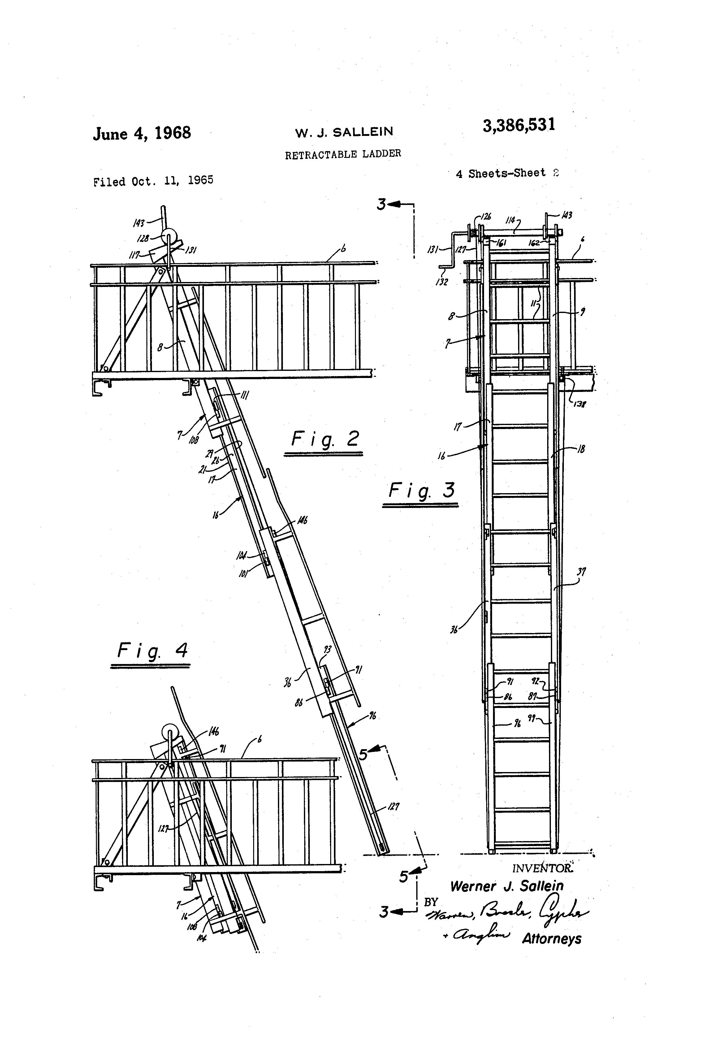 Patent Us3386531 Retractable Ladder Google Patents