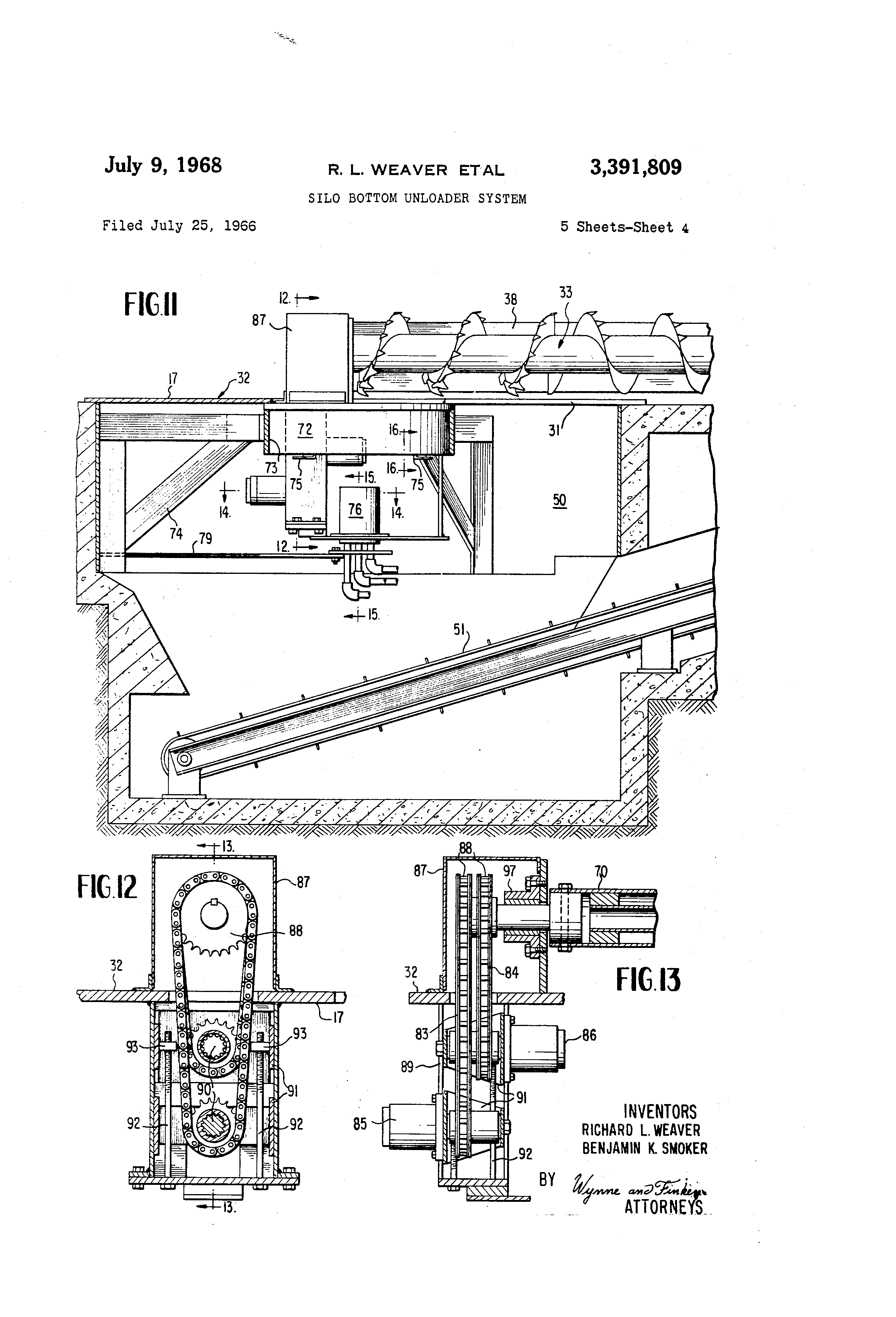 patent us3391809 silo bottom unloader system google patents patent drawing
