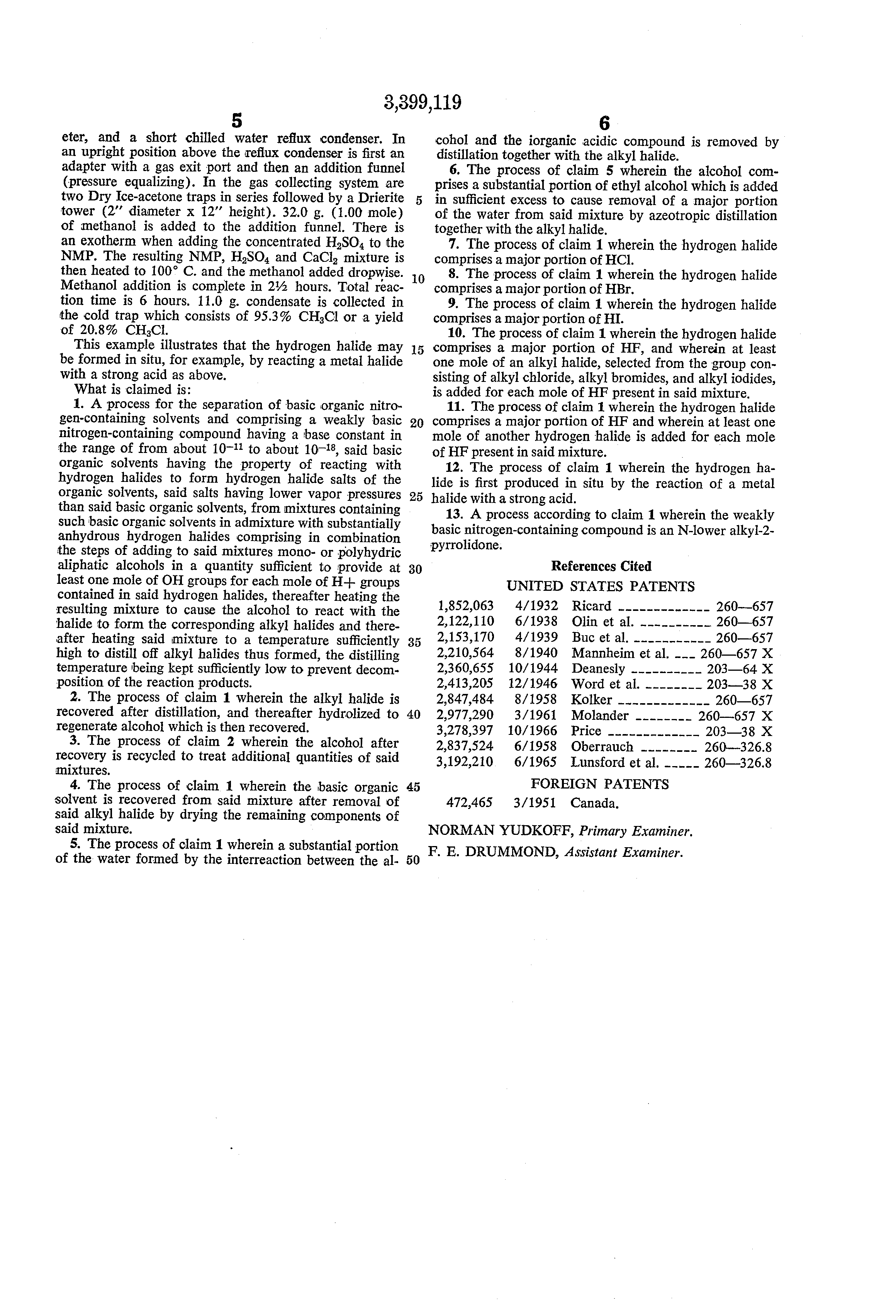 Patent US3399119 - Reaction and distillation process for nu