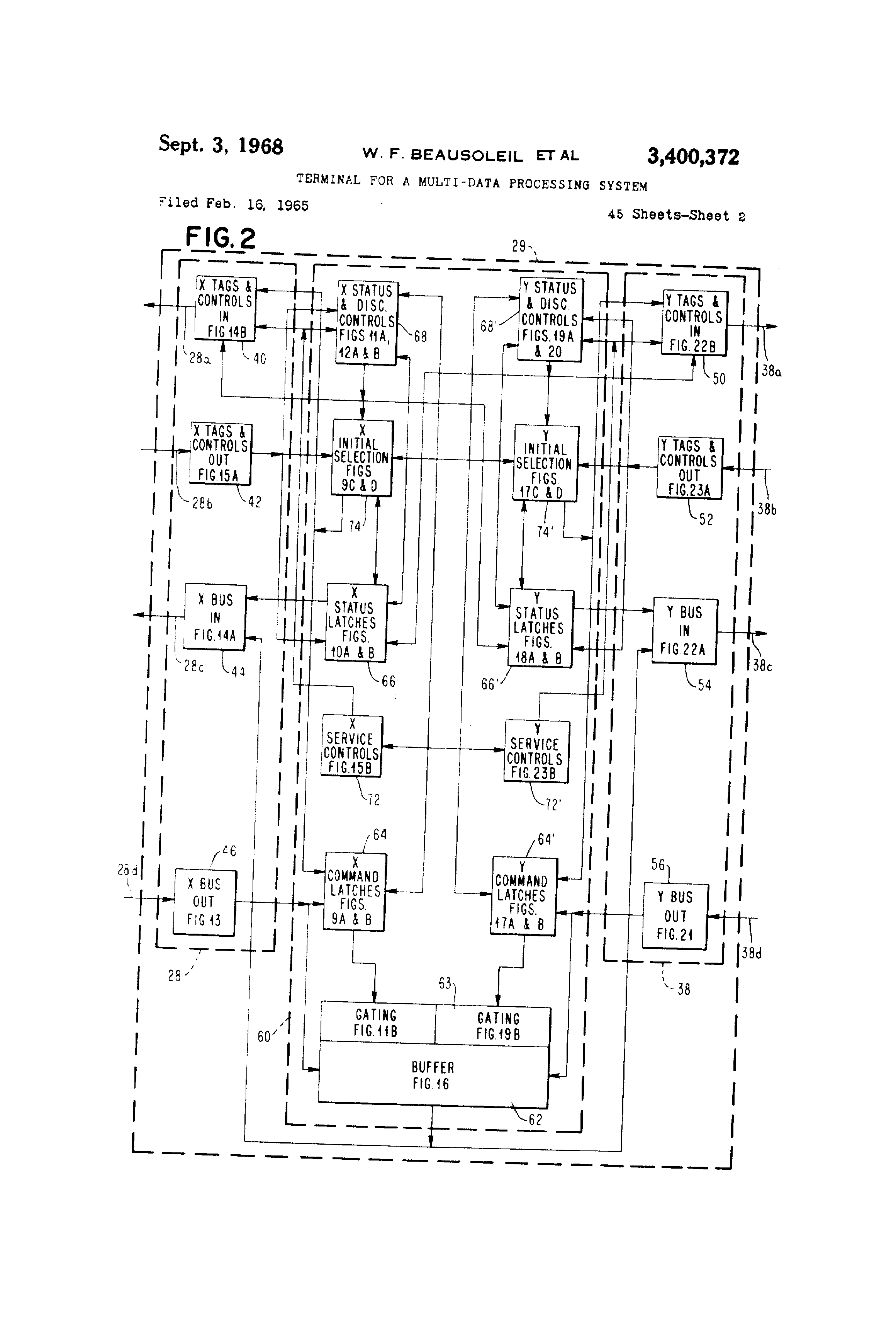 Data Processing System : Patent us terminal for a multi data processing