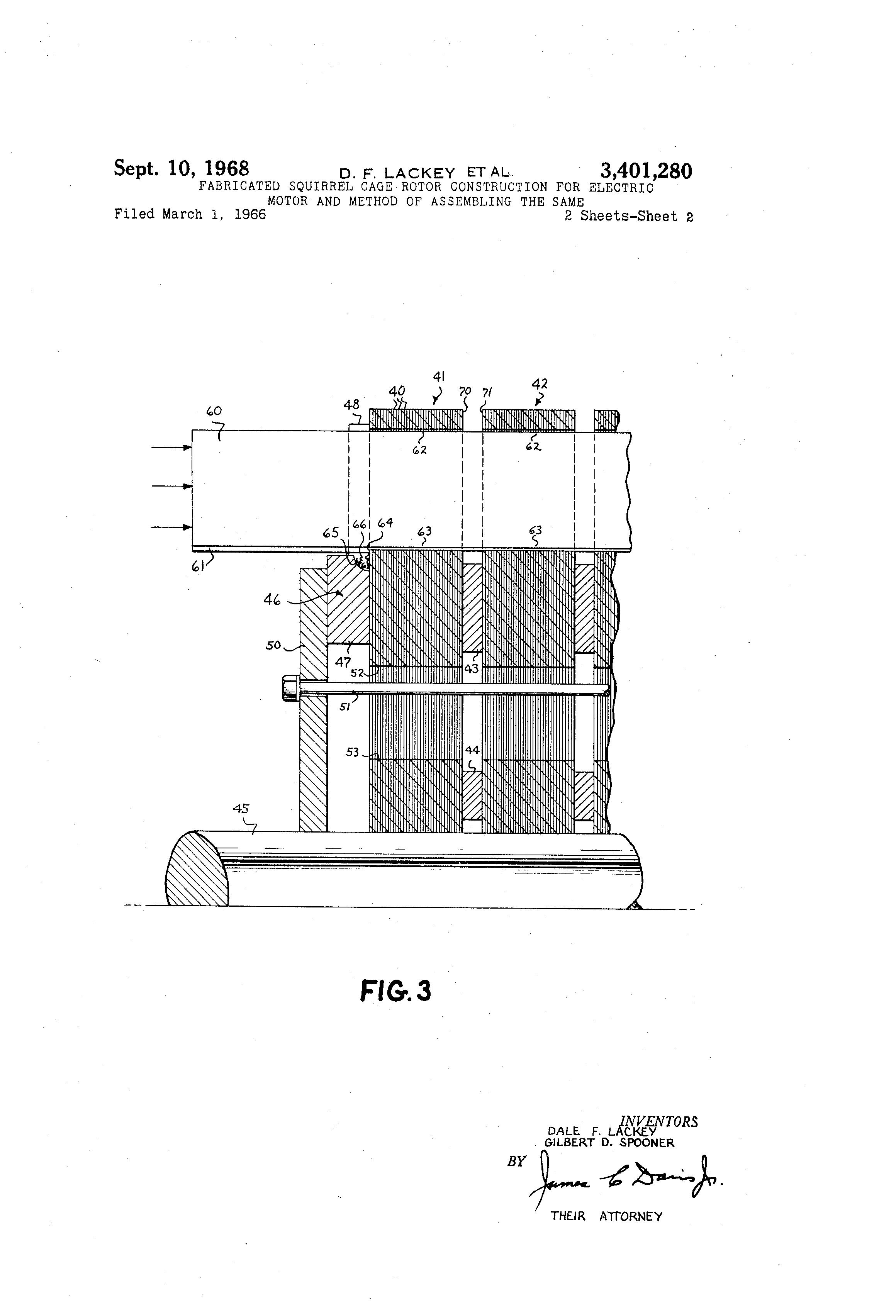 براءة الاختراع US3401280 - Fabricated squirrel cage rotor