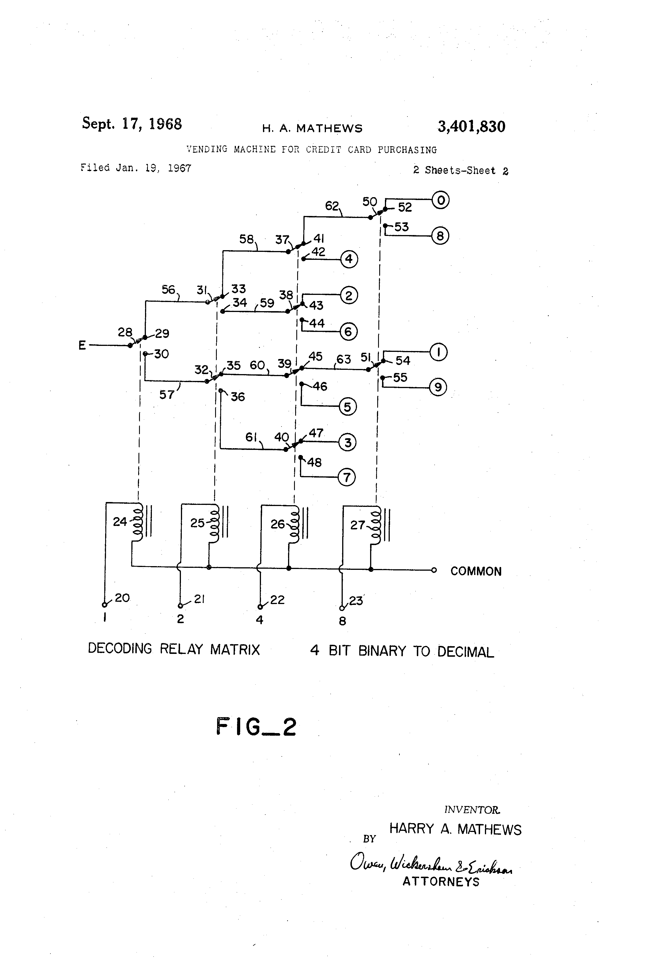 Patent Us3401830 Vending Machine For Credit Card Purchasing Wiring Diagram Drawing