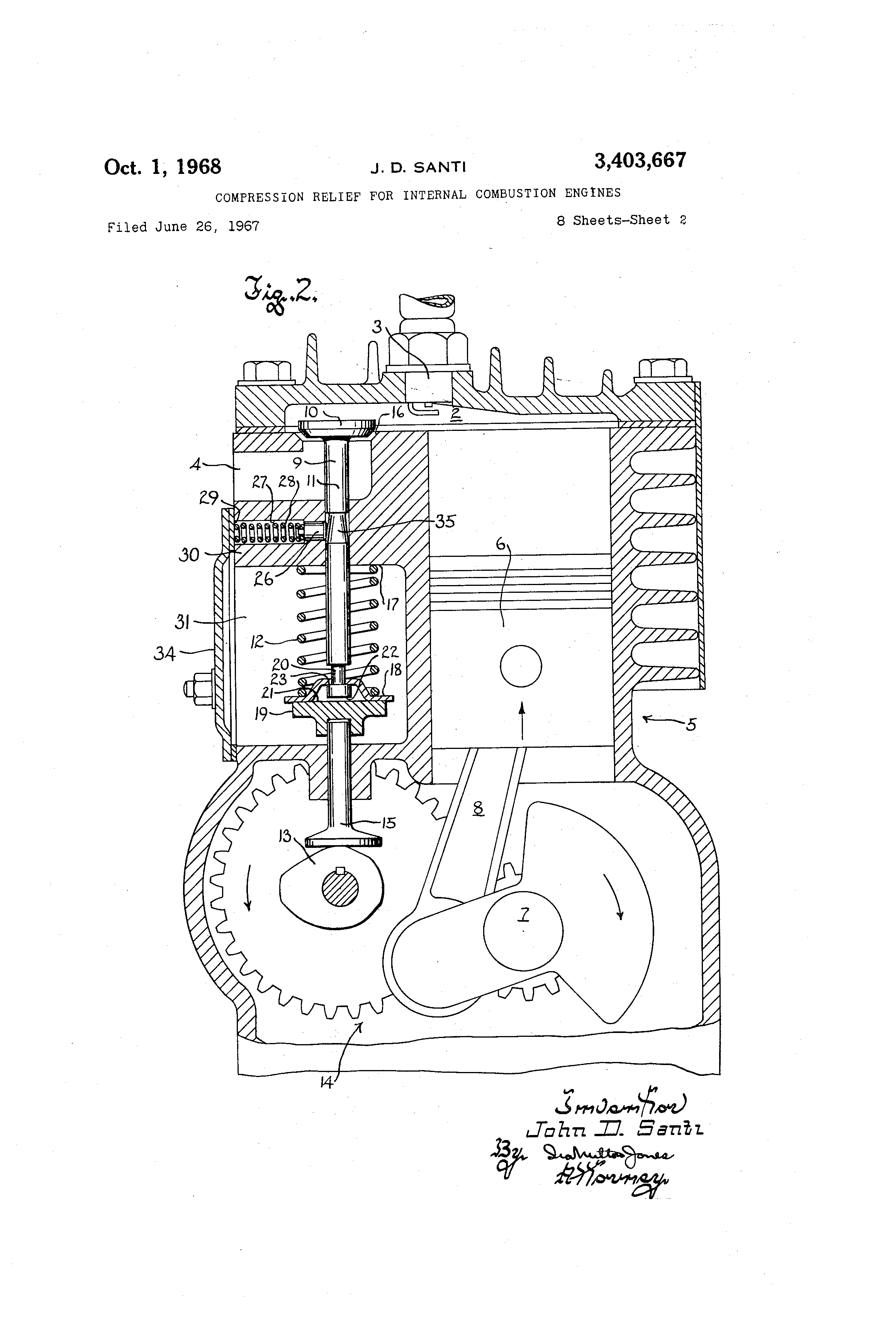 Patent US3403667 - Compression relief for internal combustion
