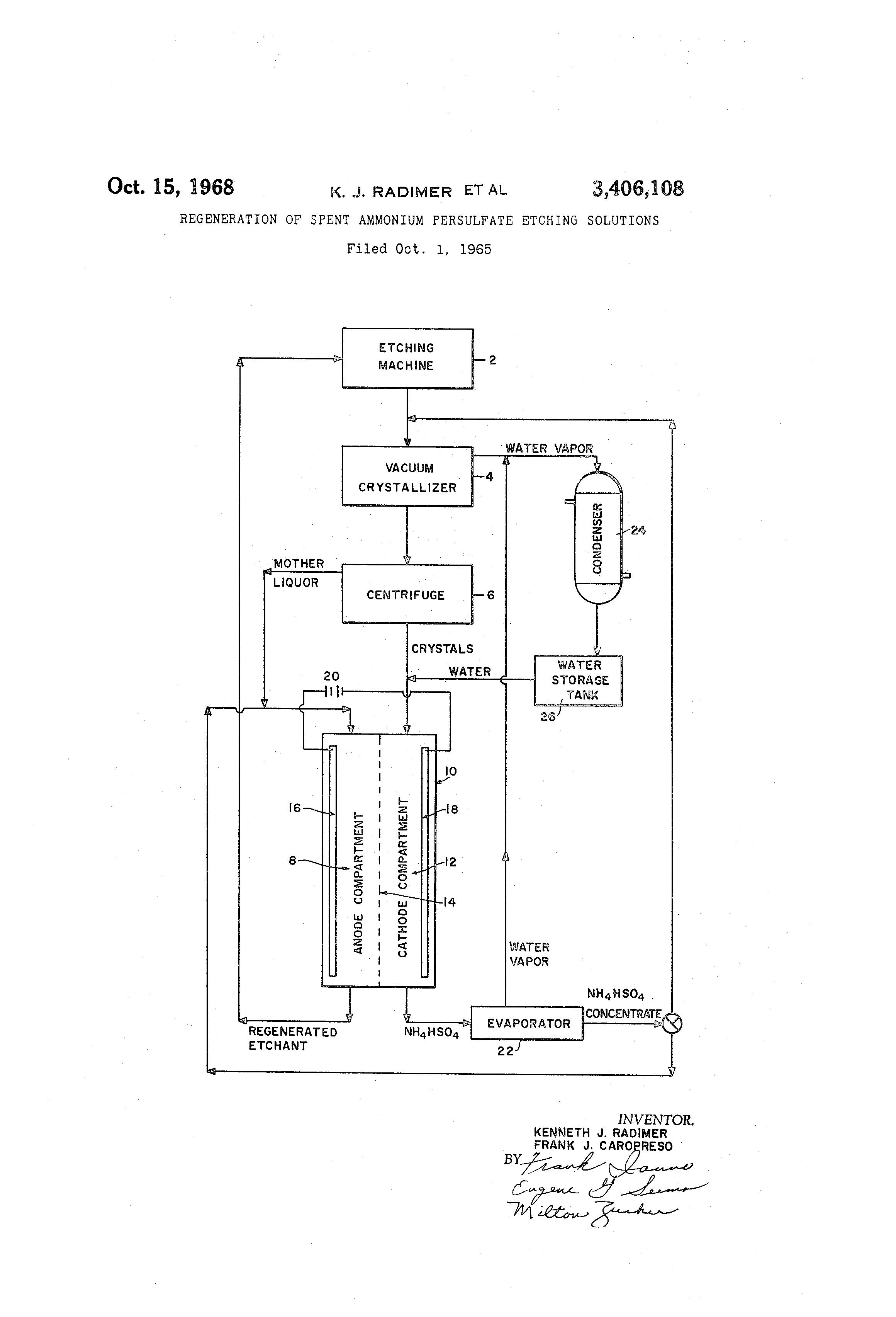 Brevet US3406108 - Regeneration of spent ammonium persulfate