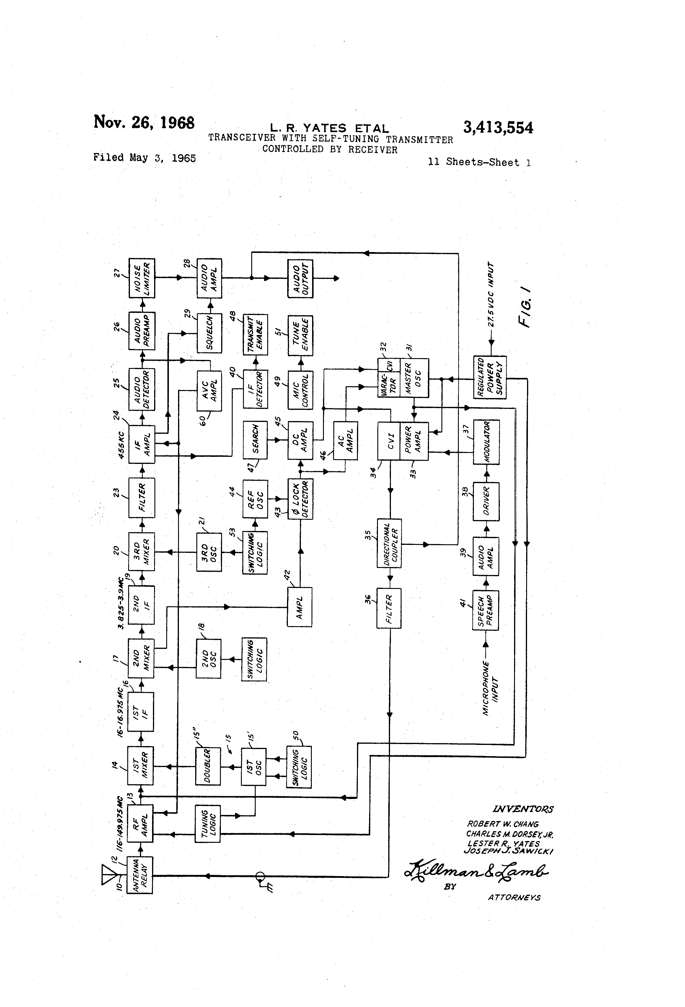 Patent Us3413554 Transceiver With Self Tuning Transmitter Phone Circuit Fm Band Schematic And Drawing