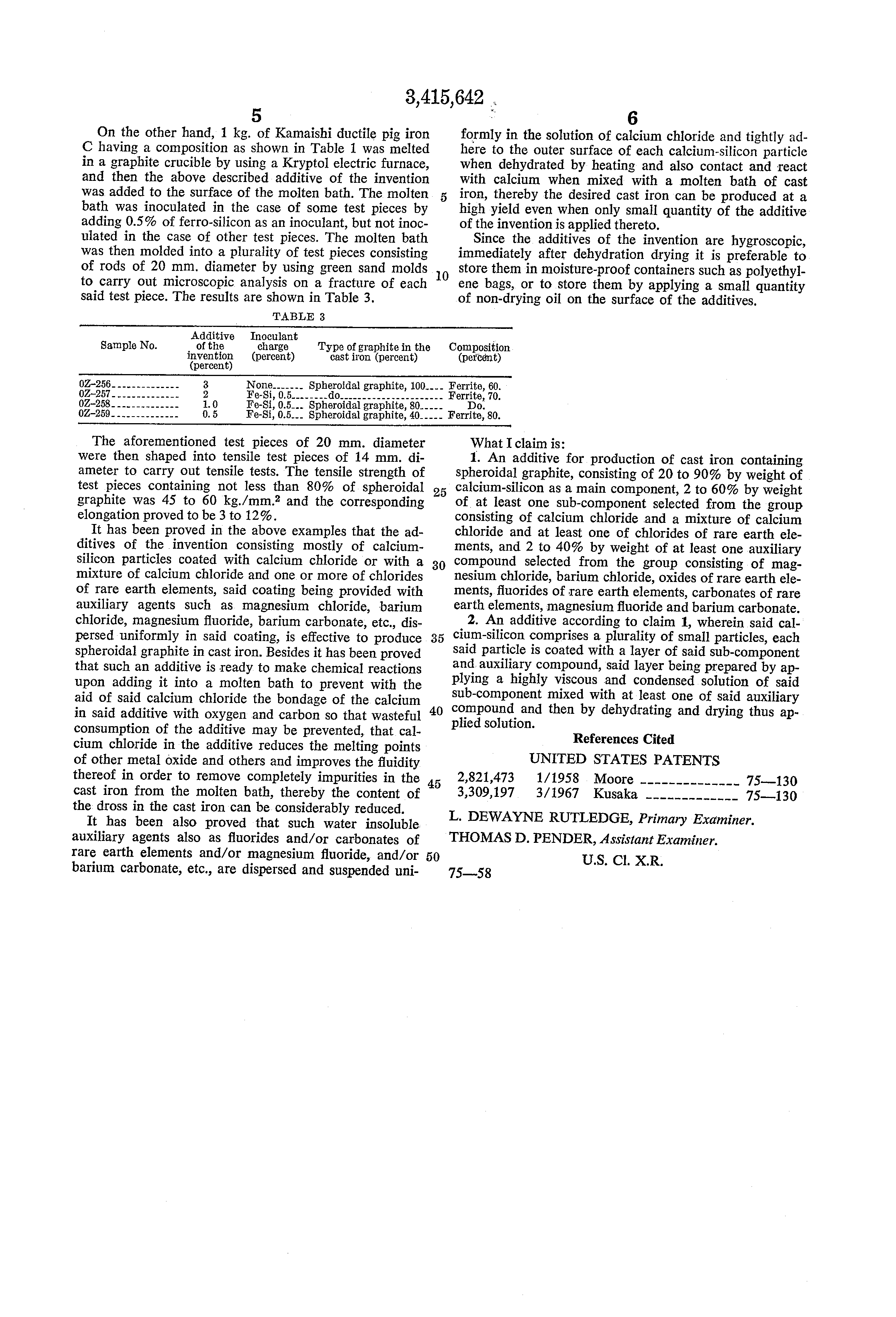Patent US3415642 - Additive for production of spheroidal