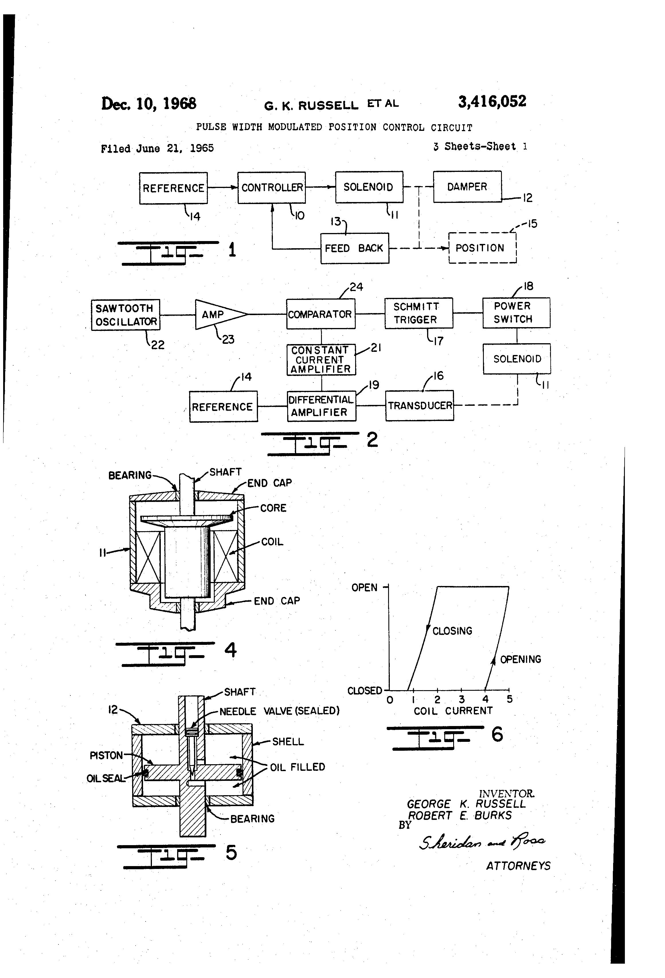 Brevet Us3416052 Pulse Width Modulated Position Control Circuit Sawtooth Wave Generator Using Ujt Patent Drawing