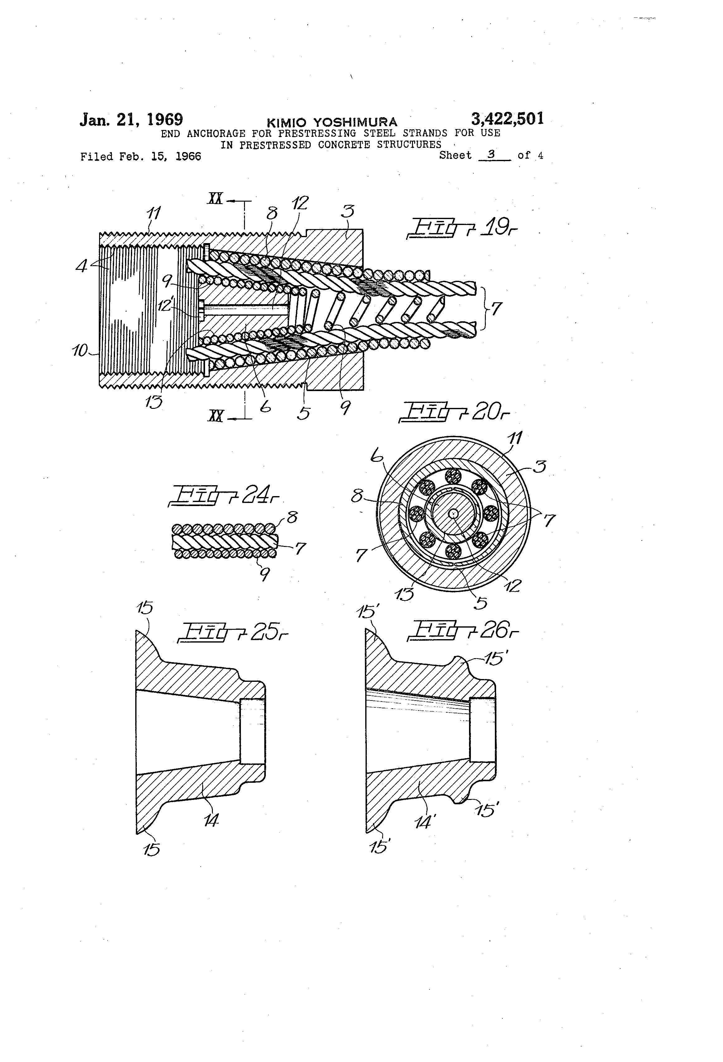 Patent US3422501 - End anchorage for prestressing steel strands for