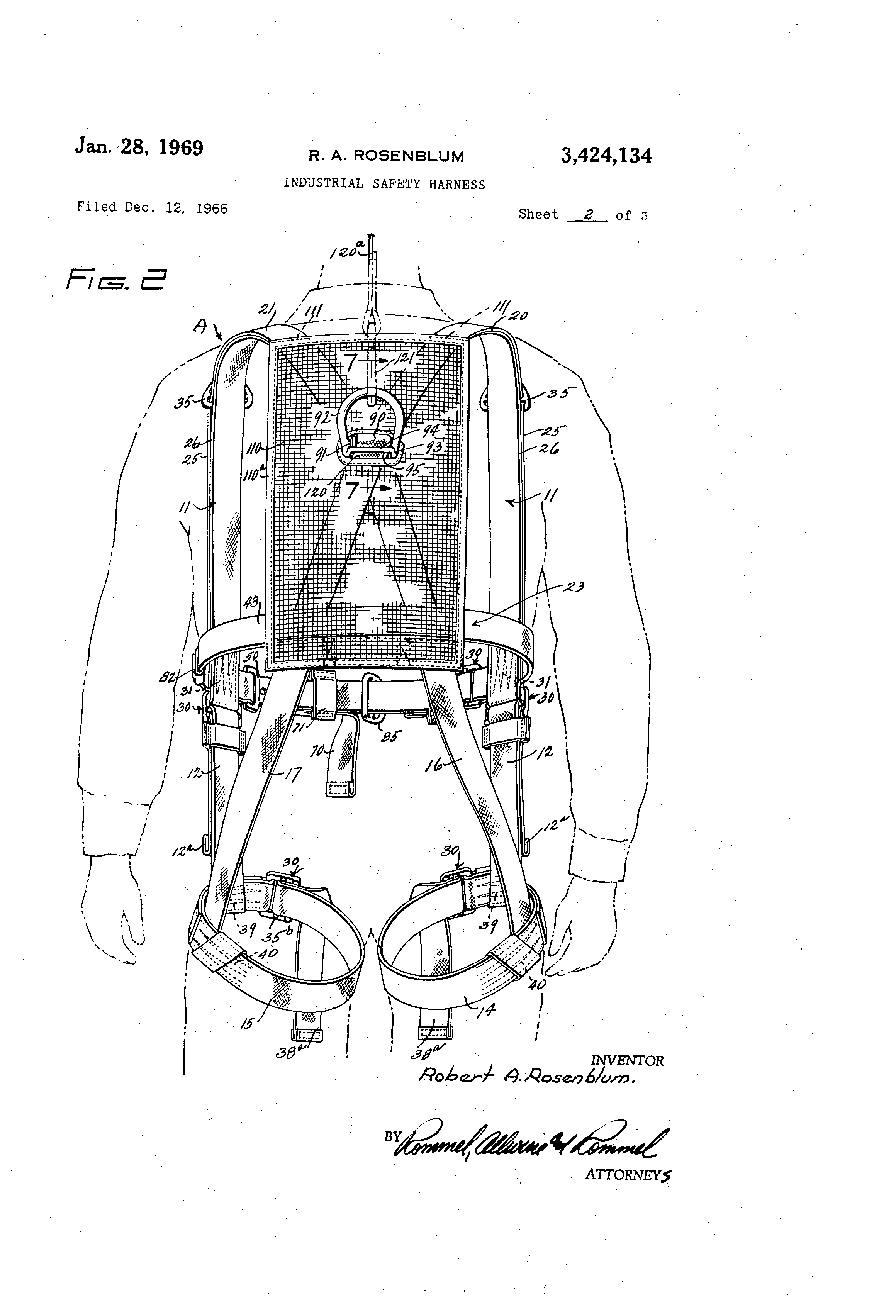 patent us3424134 - industrial safety harness