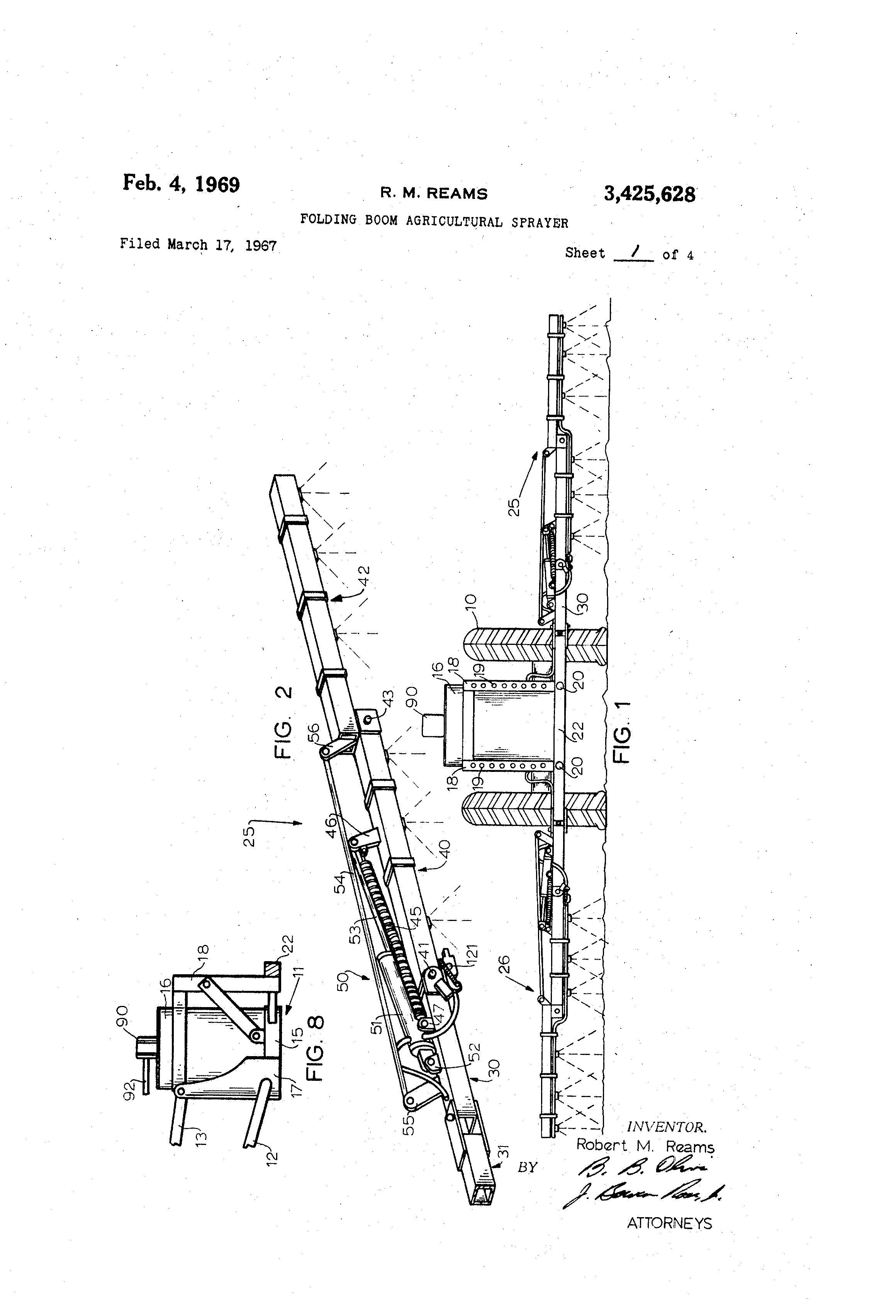 Patent US3425628 - Folding boom agricultural sprayer - Google Patents