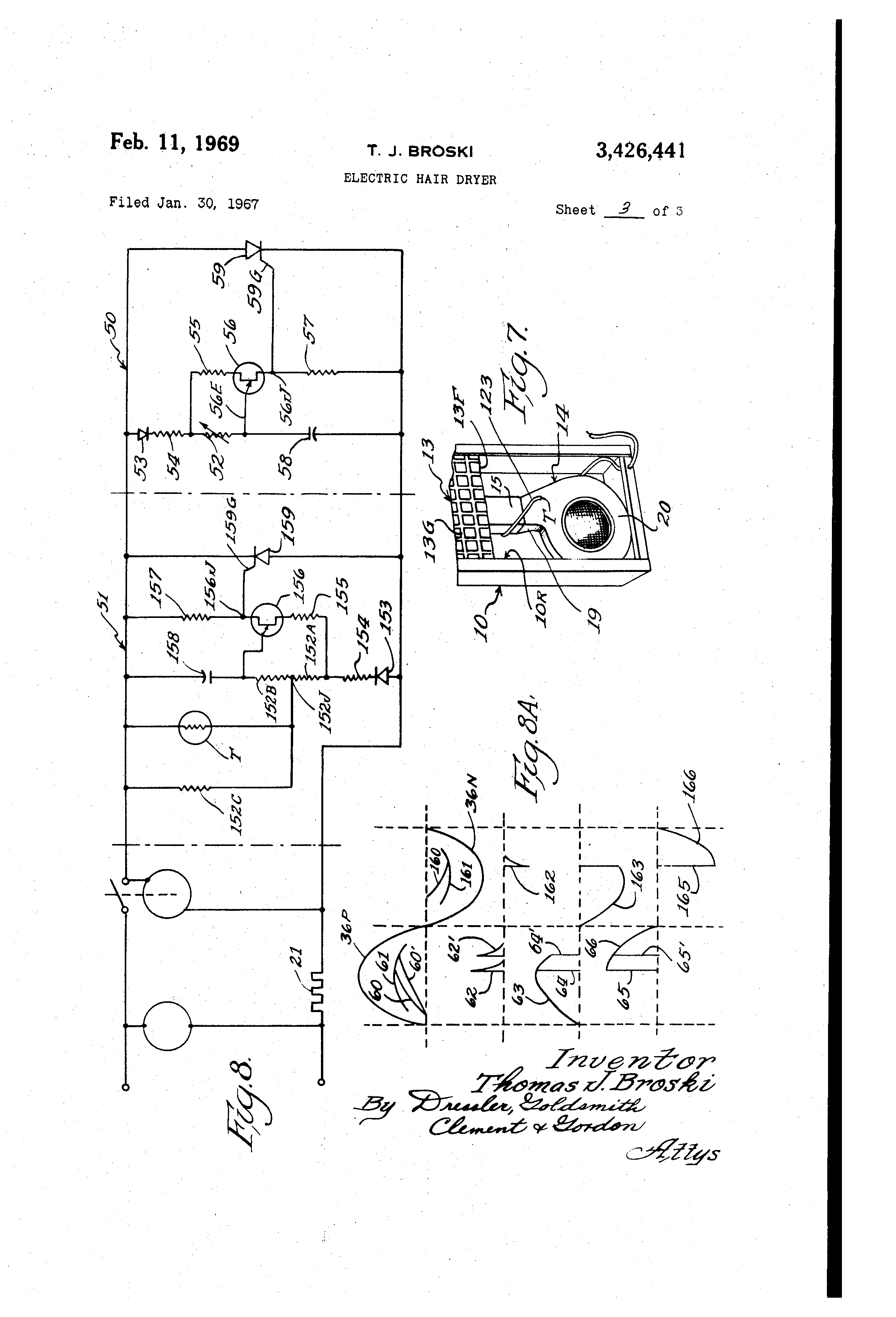 US3426441 2 patent us3426441 electric hair dryer google patents hair dryer wiring diagram at gsmportal.co