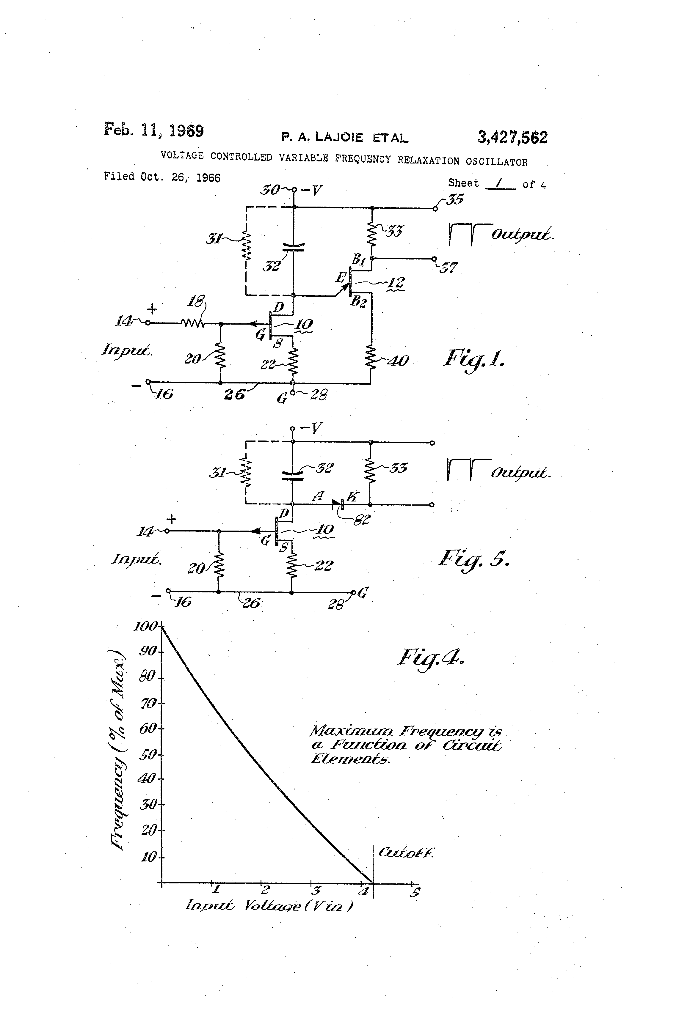 Ujt Relaxation Oscillator Patent Us3427562 Voltage Controlled Variable Frequency Drawing