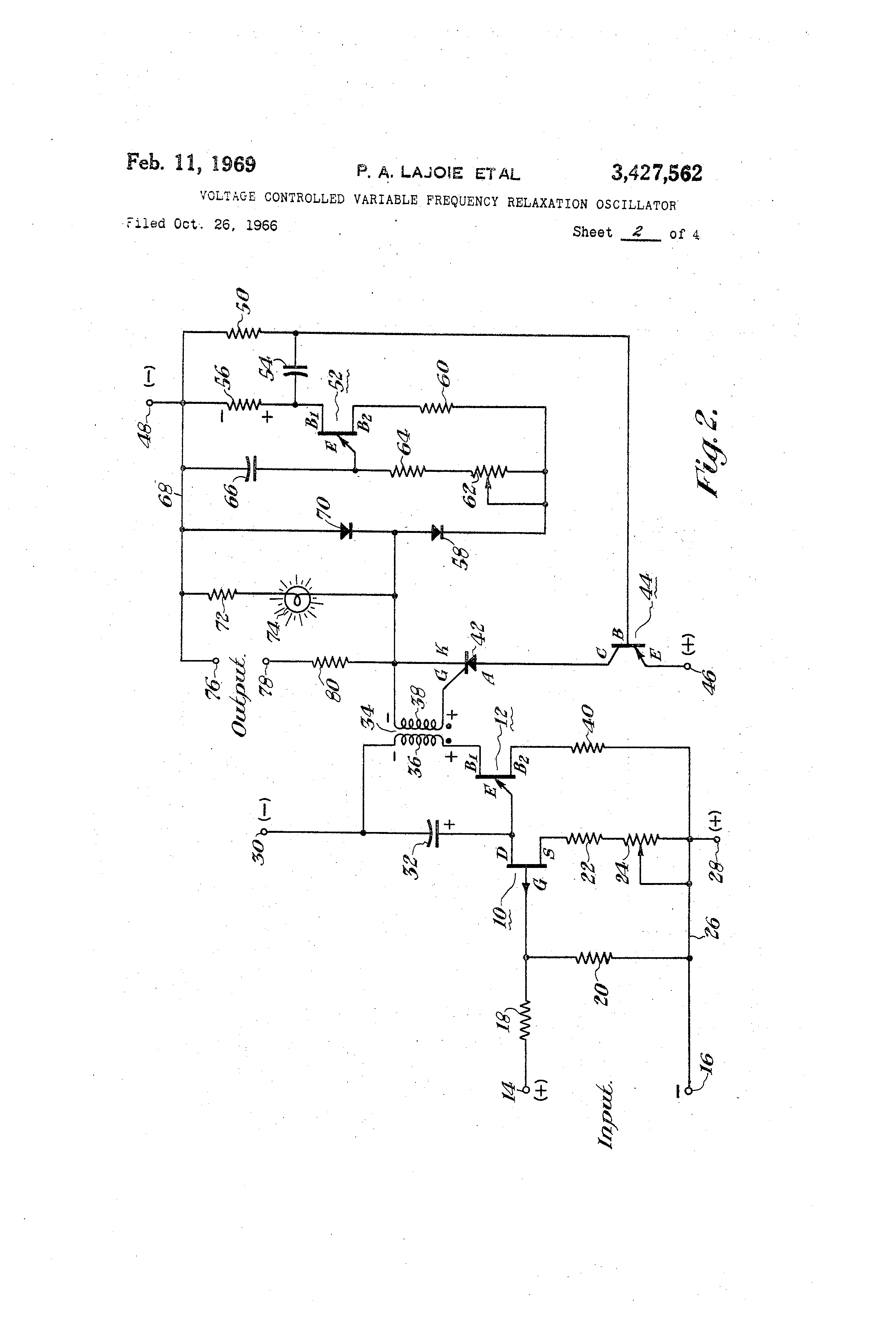 Patent Us3427562 Voltage Controlled Variable Frequency Relaxation Ujt Oscillator Drawing