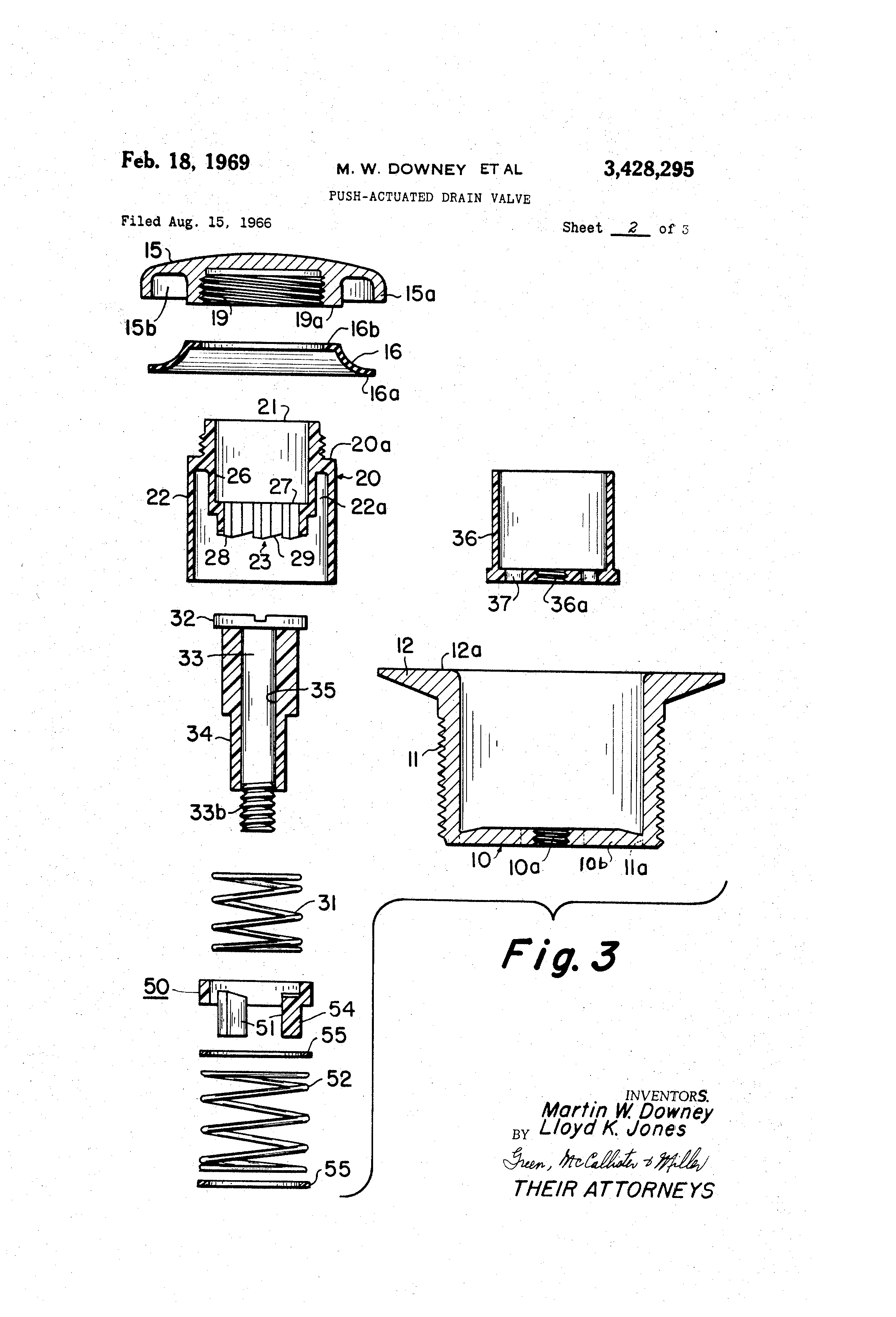 Patent US3428295 Push actuated drain valve Google Patents