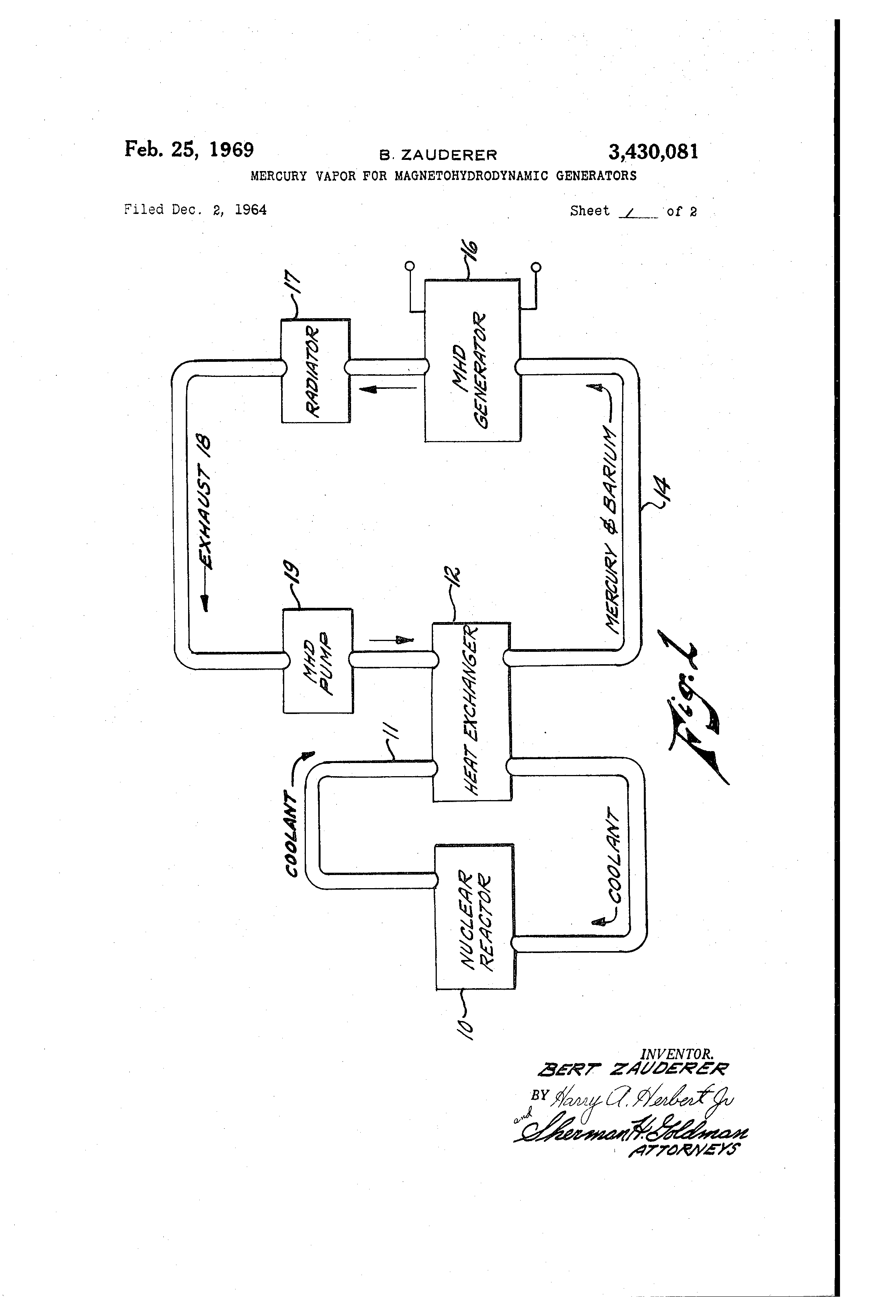 Patent US3430081 - Mercury vapor for magnetohydrodynamic