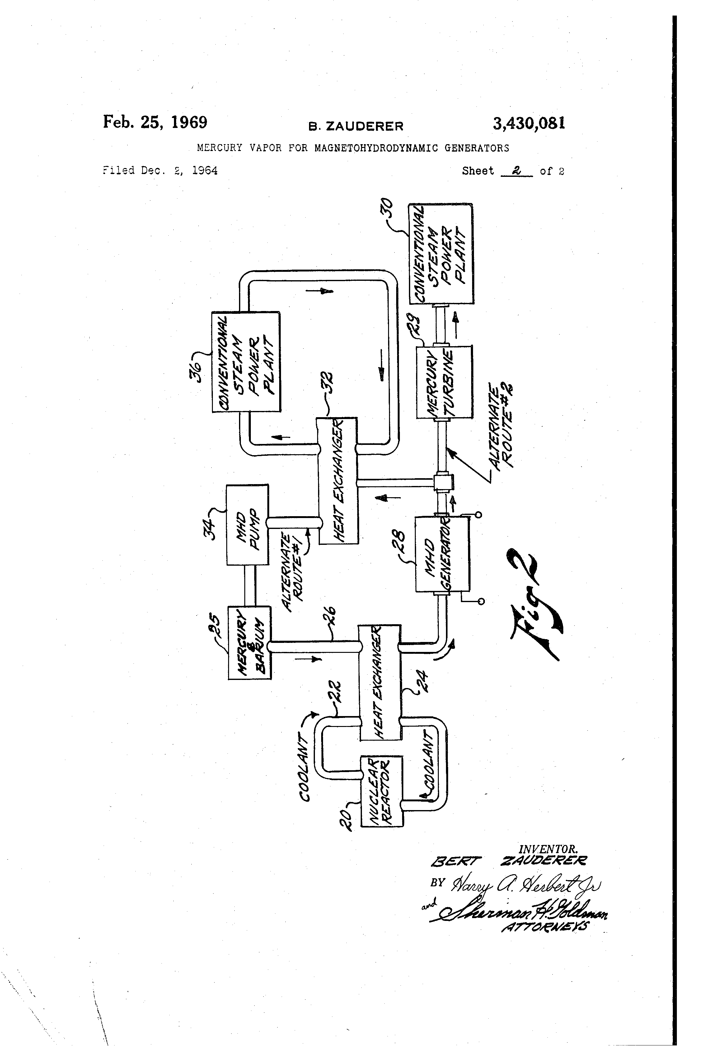 Patent US3430081 - Mercury vapor for magnetohydrodynamic
